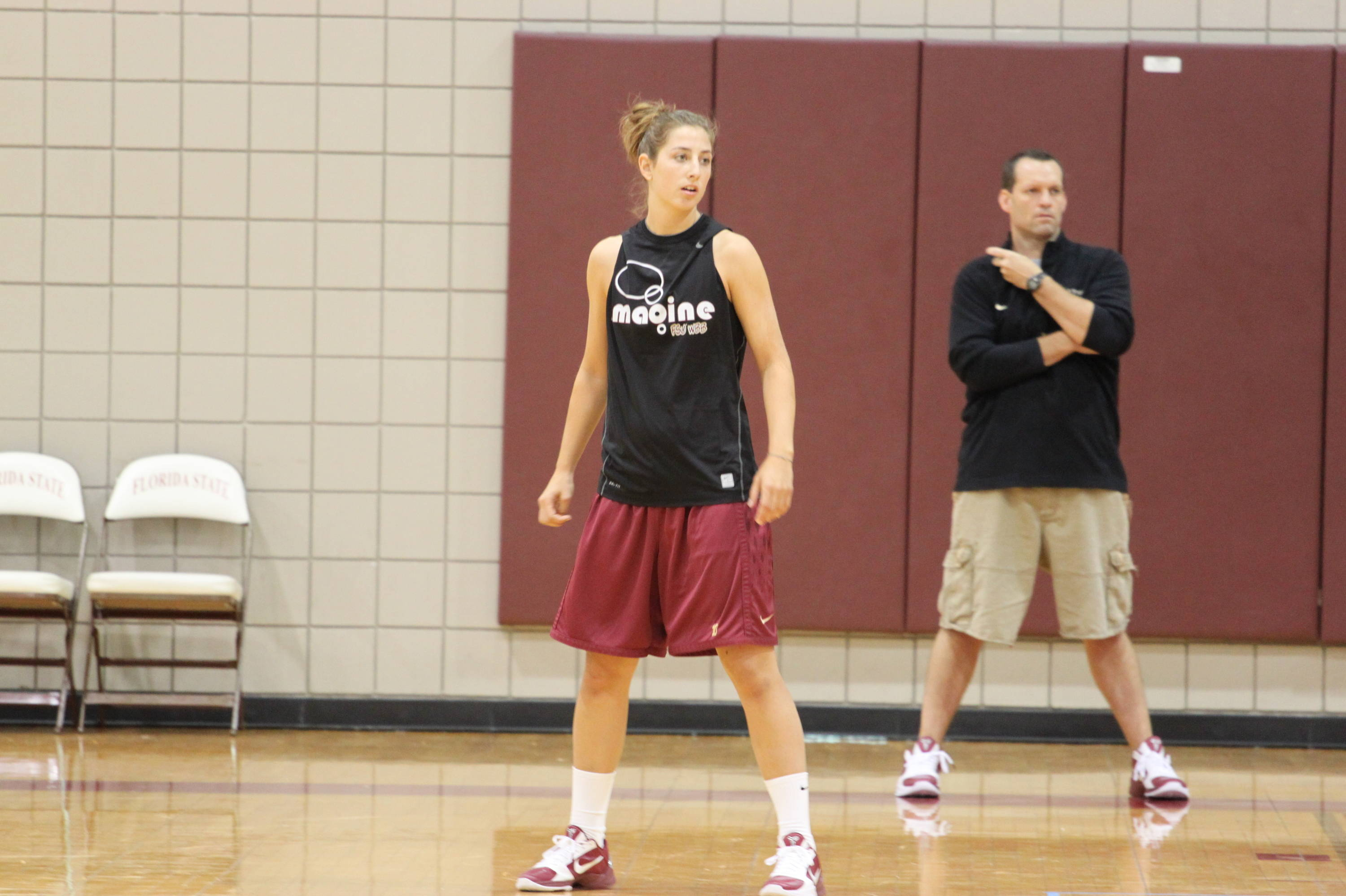 Here's a shot of Leonor Rodriguez with assistant coach Lance White in the background.