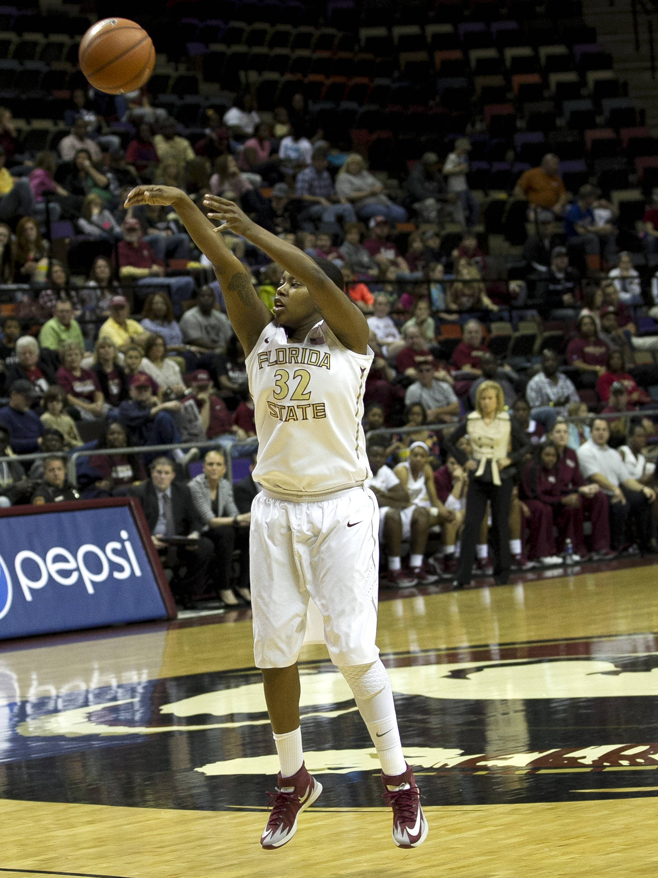 Lauren Coleman (32) with a long three, FSU vs Miami, 2-16-14, (Photo's by Steve Musco)