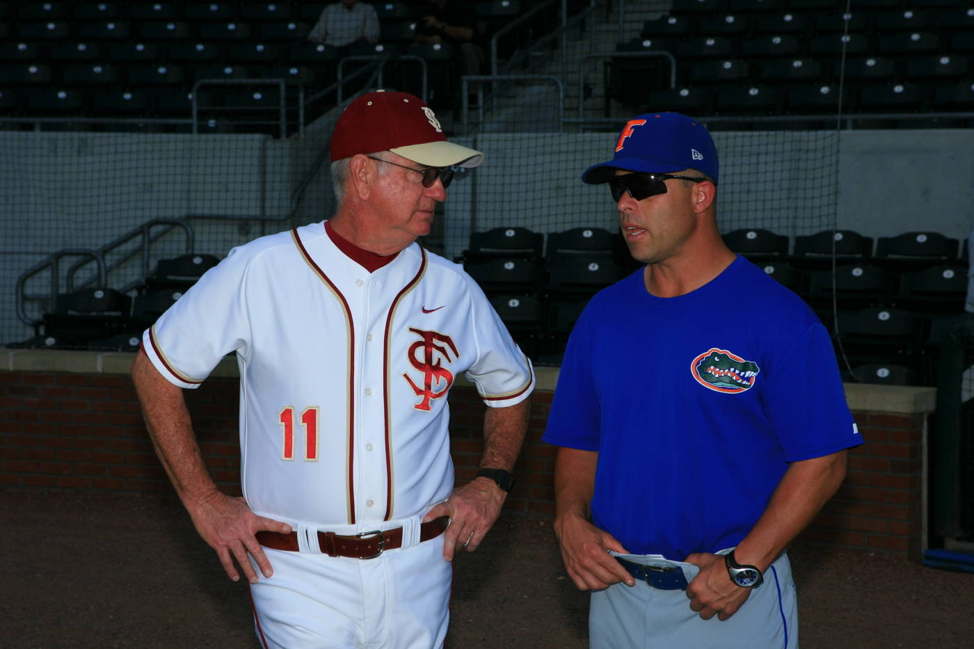 Mike Martin and Kevin O'Sullivan chat during pregame warmups in Jacksonville