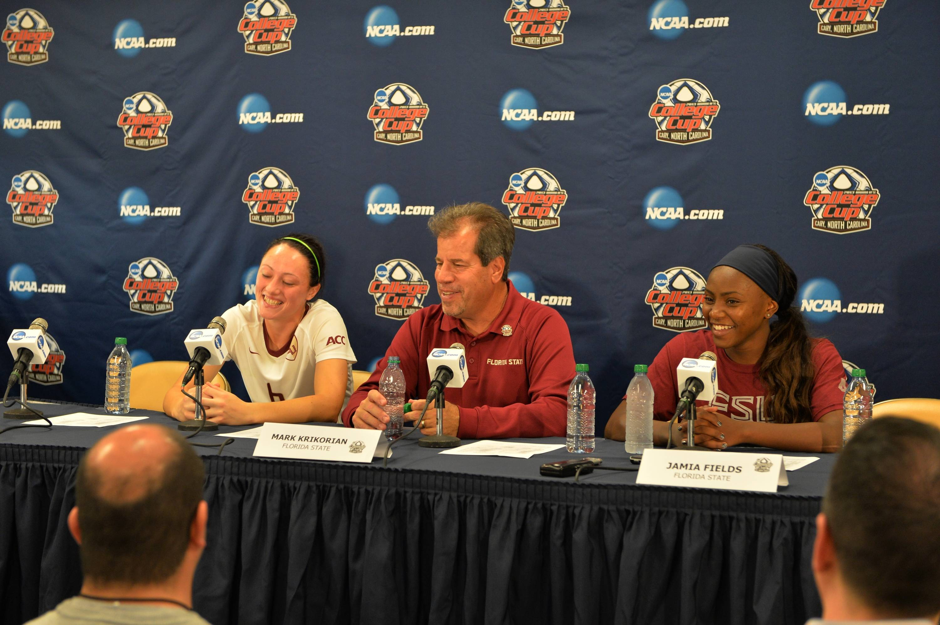 Megan Campbell, head coach Mark Krikorian and Jamia Fields speaks to the media following Friday's semifinal.