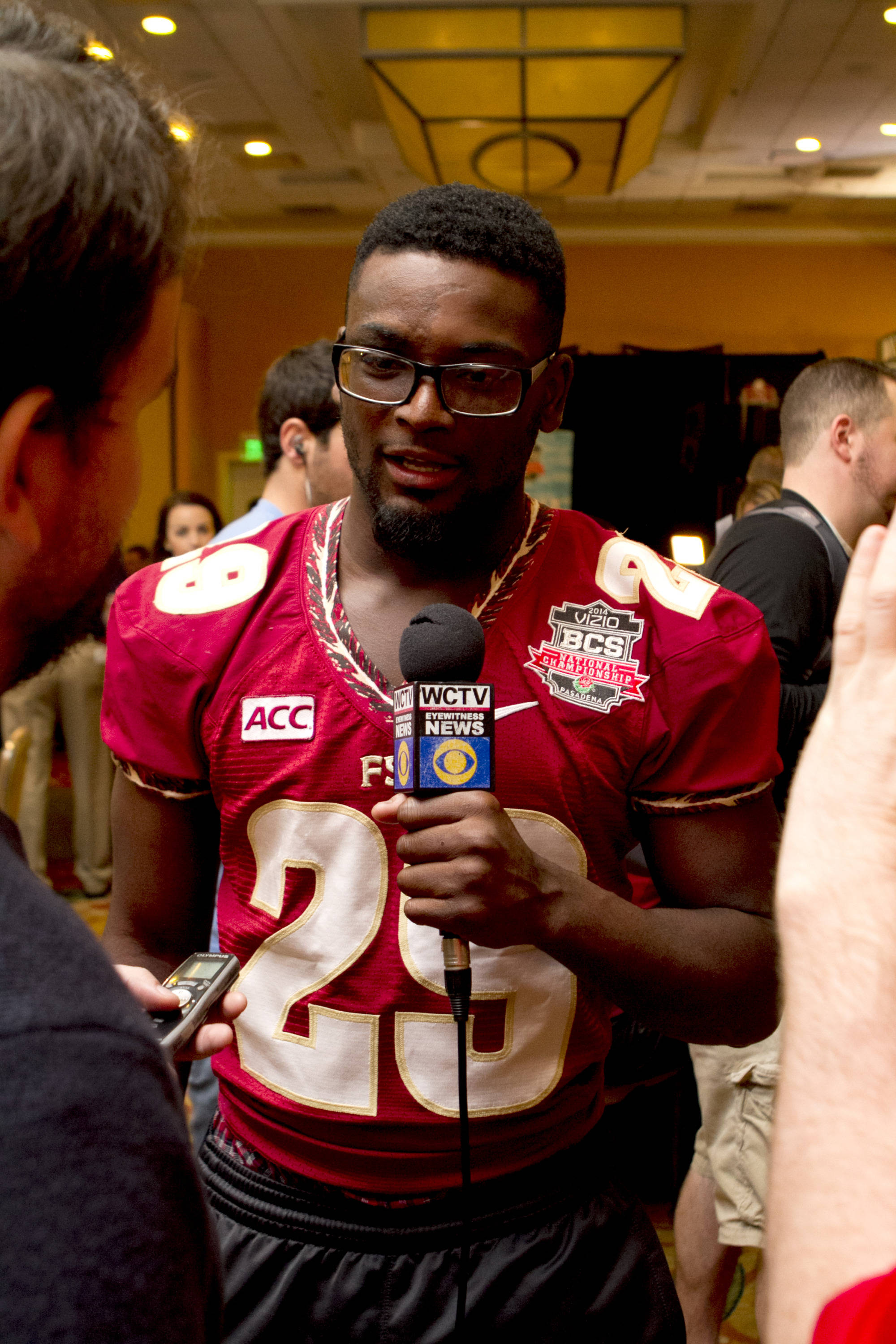Nate Andrews (29), FSU at BCS Championship Media Day,  1-04-14,  (Photo by Steve Musco)