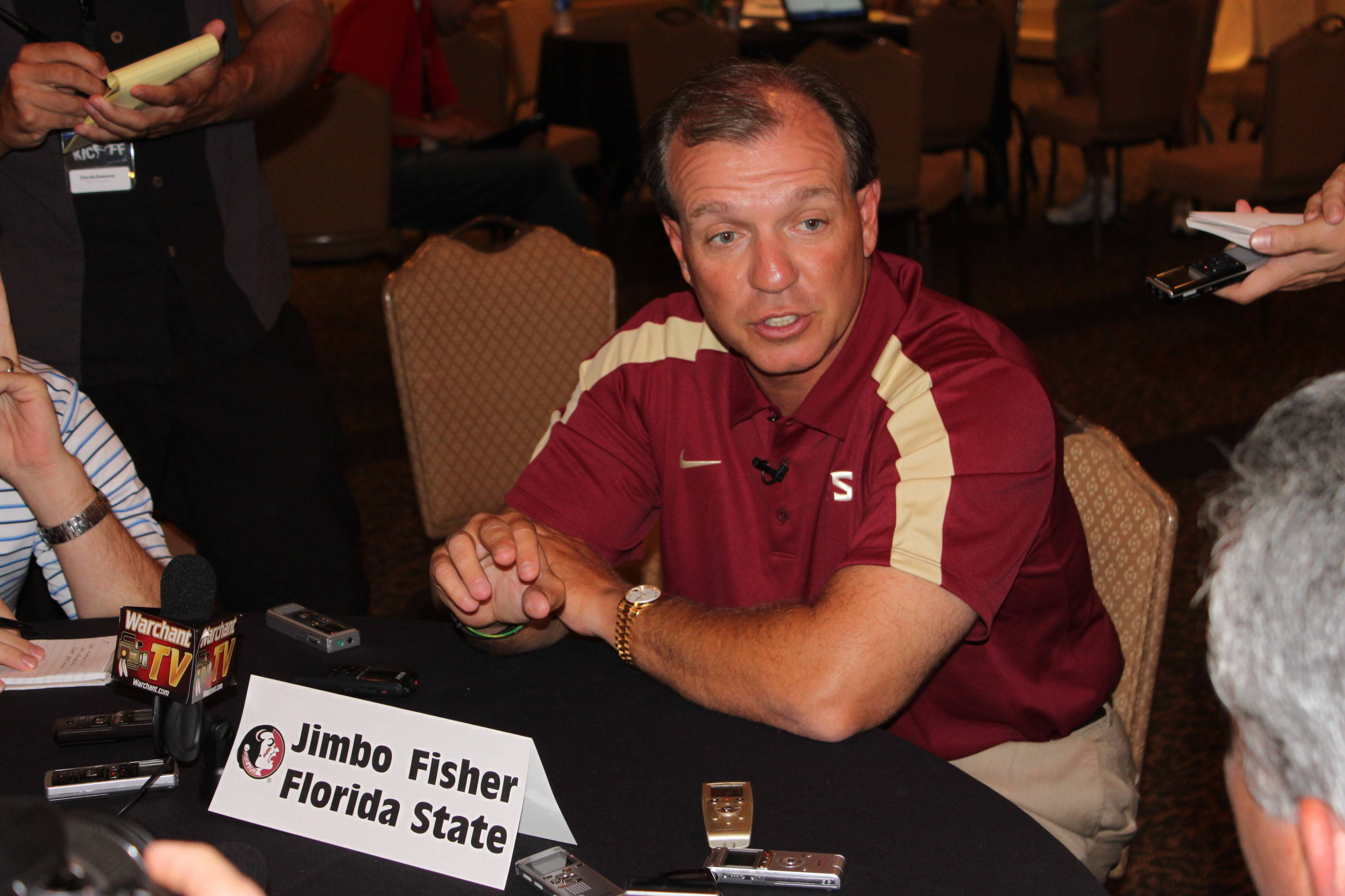 Jimbo Fisher with the print media