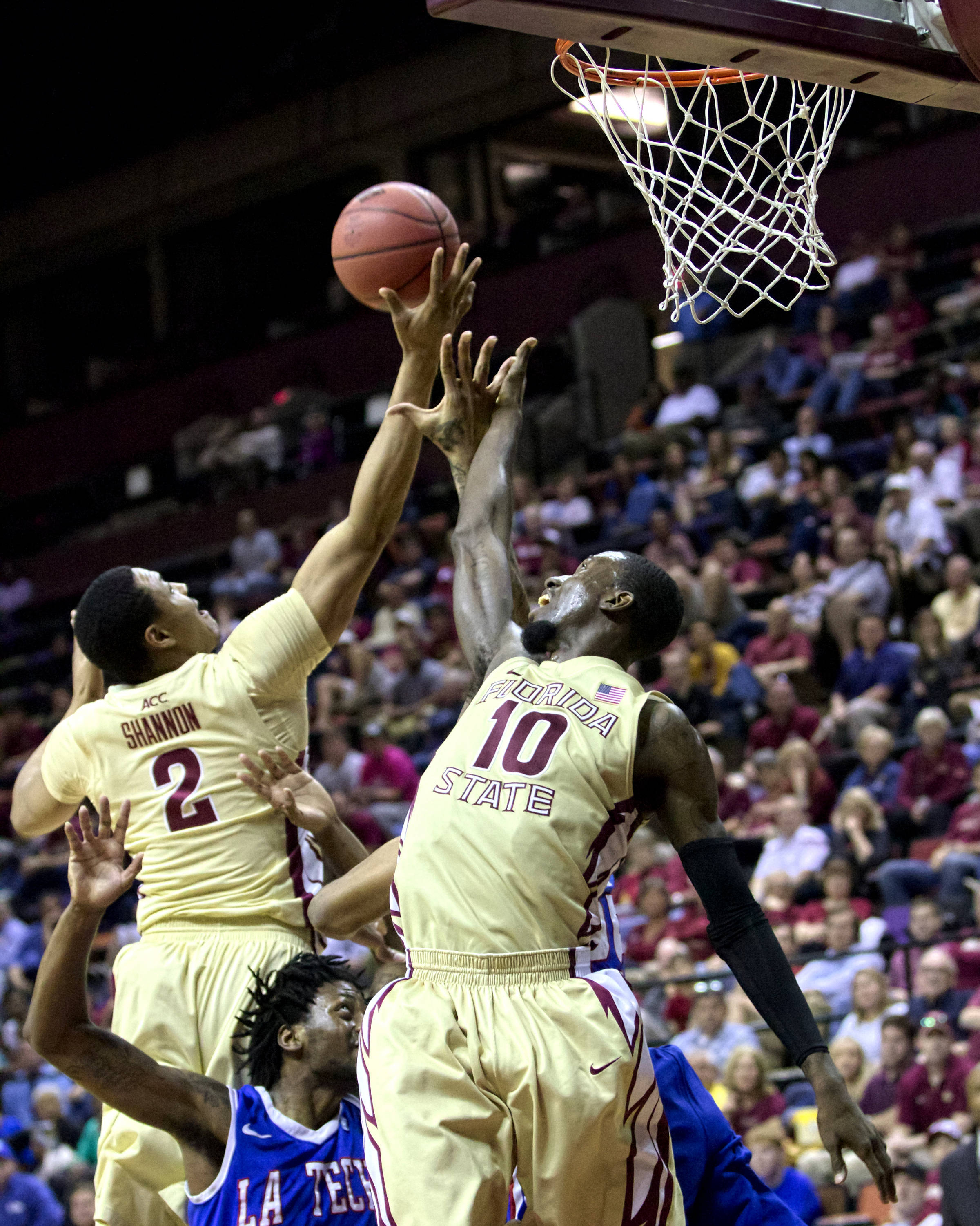 Terrance Shannon (2), Okaro White (10), NIT First Round, FSU vs Louisiana Tech, 03/19/13 . (Photo by Steve Musco)