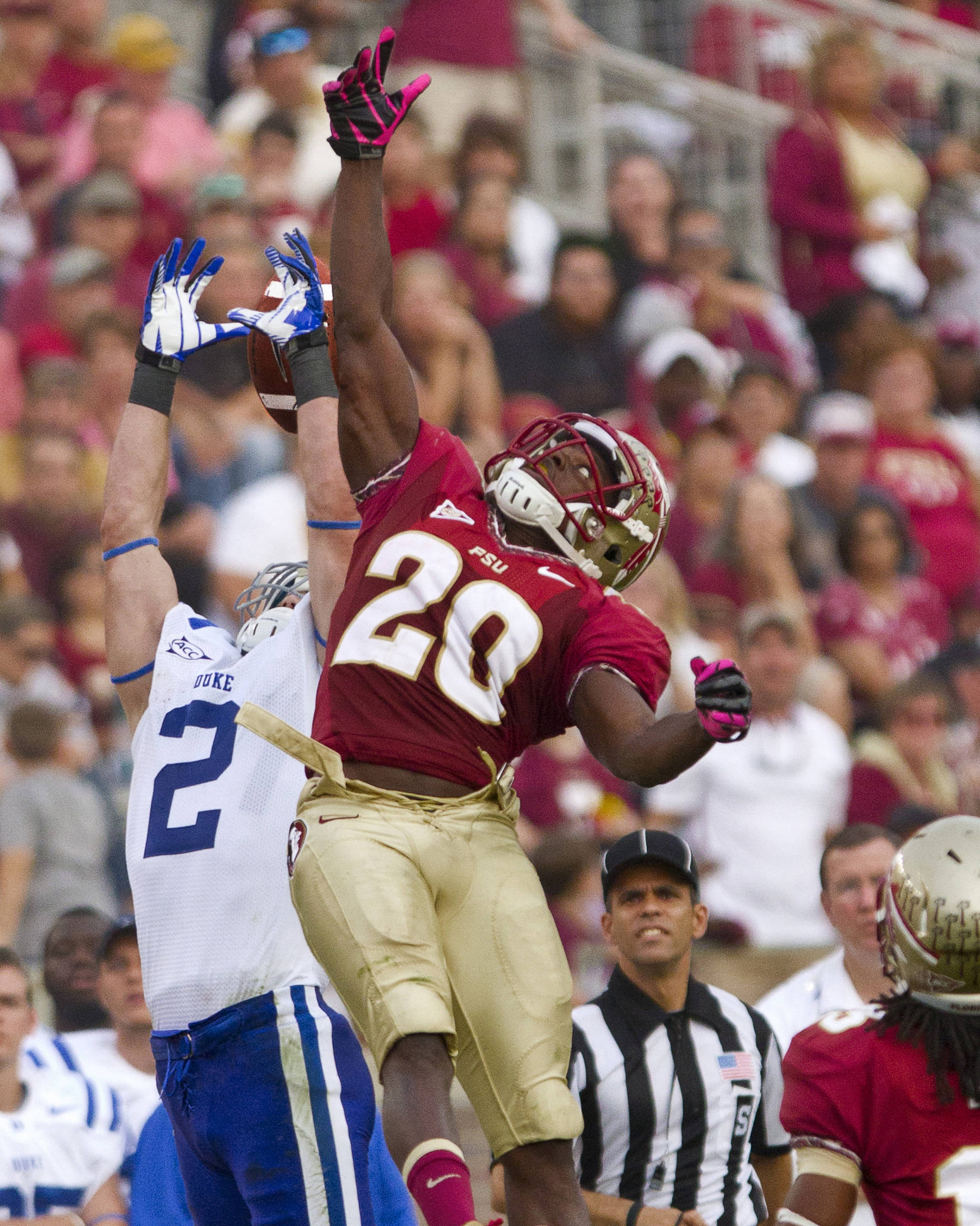 Lamarcus Joyner (20) blocks a reception during FSU's 48-7 victory over Duke on October 27, 2012 in Tallahassee, Fla.