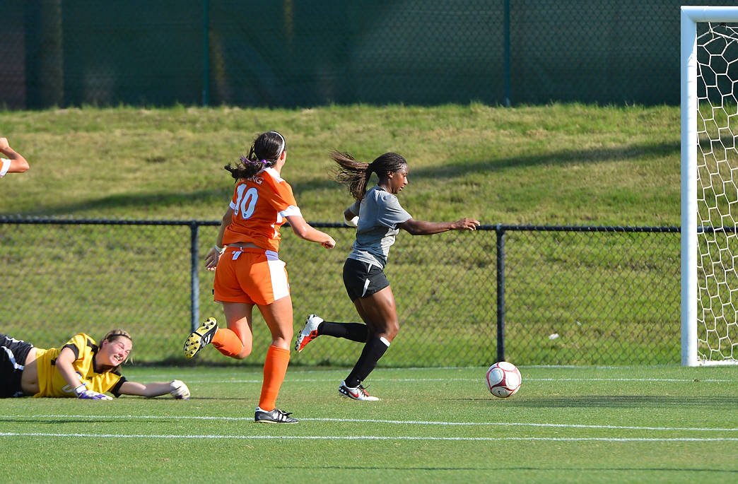 Tiffany McCarty scores one of her two goals against Florida on Sunday.