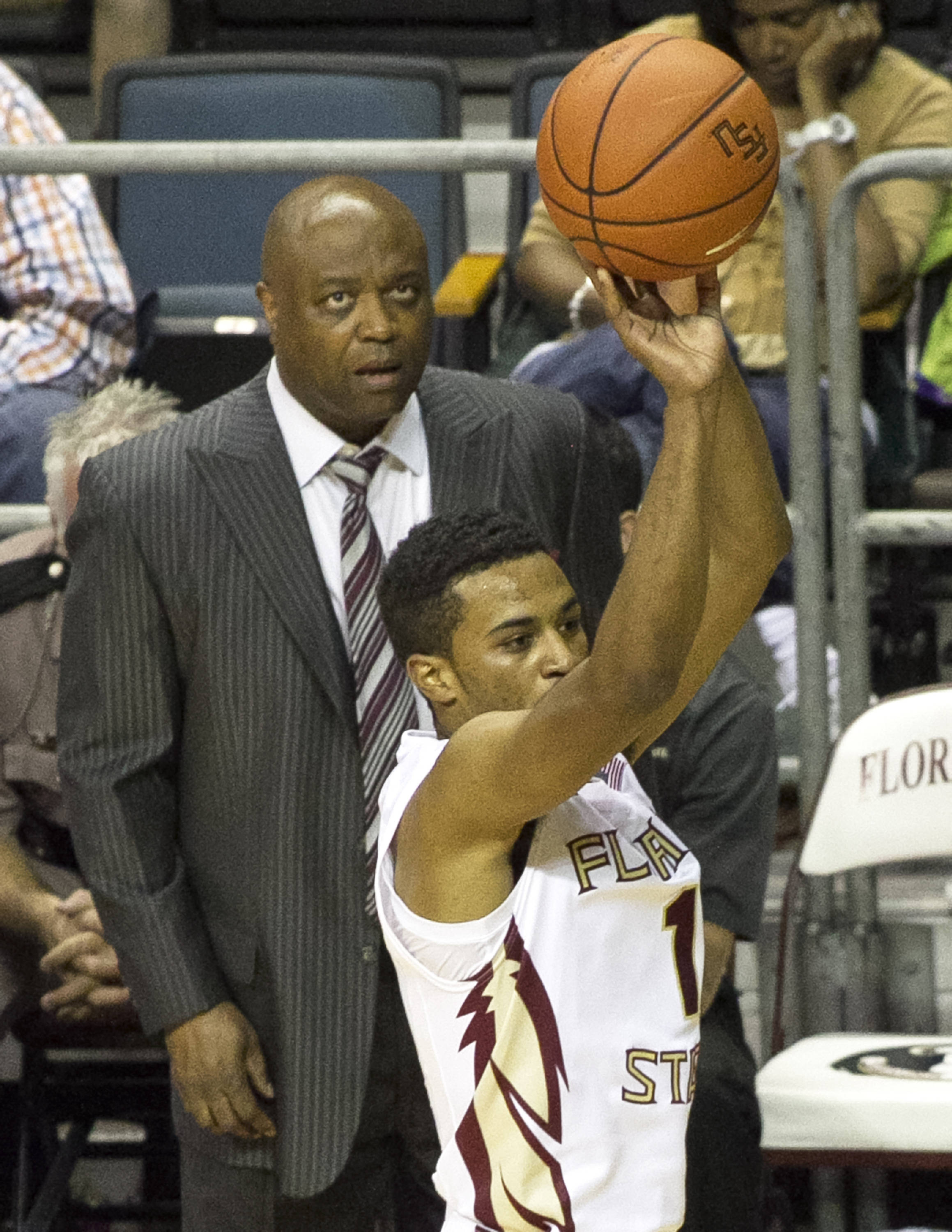 Head Coach Leonard Hamilton, Devon Bookert, FSU vs Jacksonville,  11-8-13, (Photo by Steve Musco)