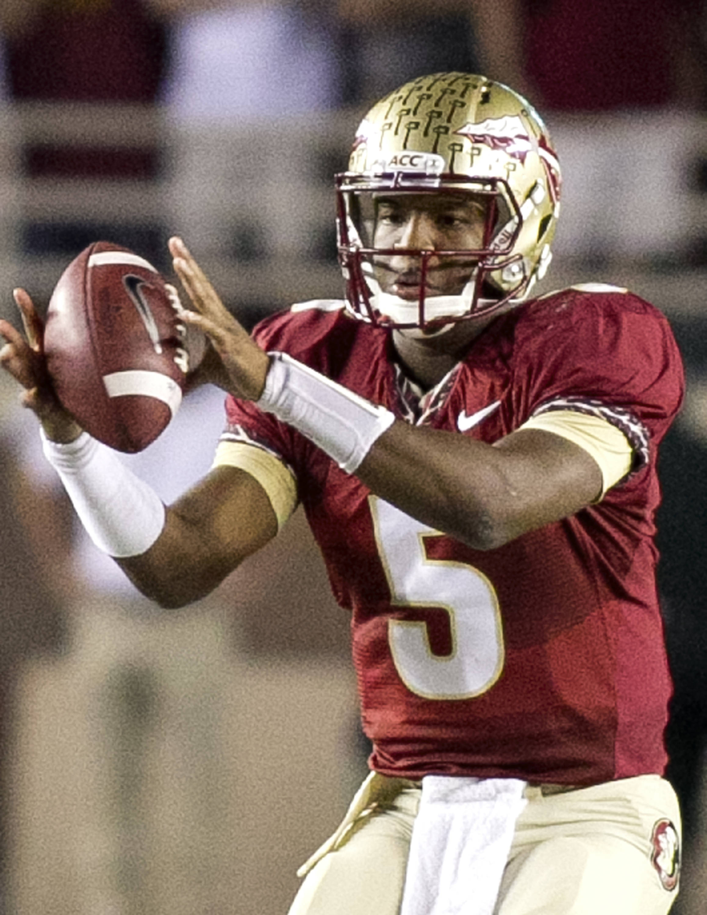 Jameis Winston (5), FSU vs Miami,  11-2-13, (Photo by Steve Musco)