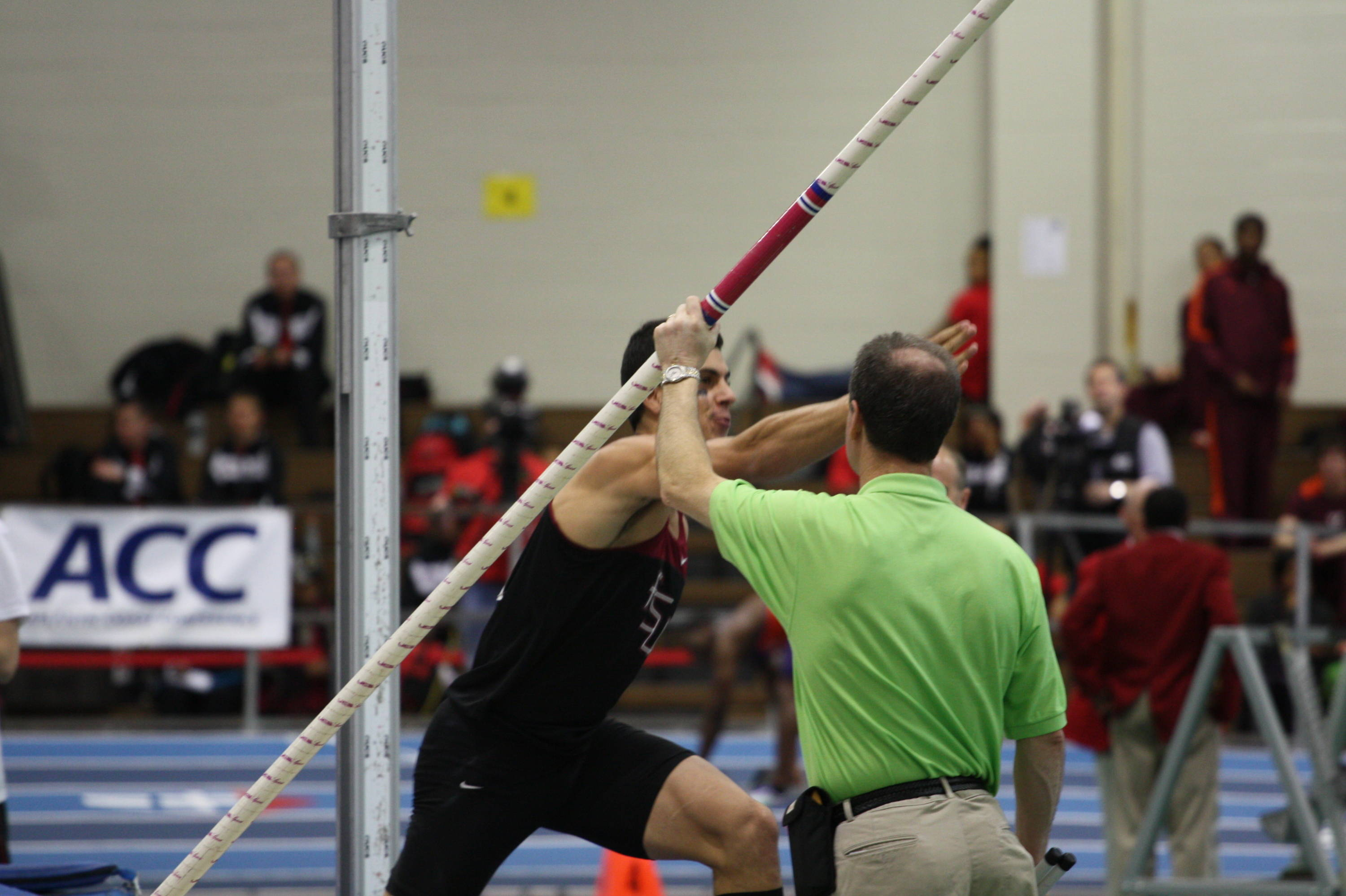 In a show of emotion, Gonzalo Barriolhet does the chop as he bounds from the pit after his winning vault.