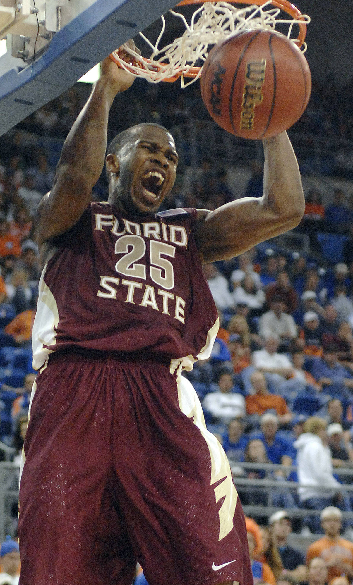 Florida State's Jason Rich celebrates as he scores during Florida State's 65-51 win.