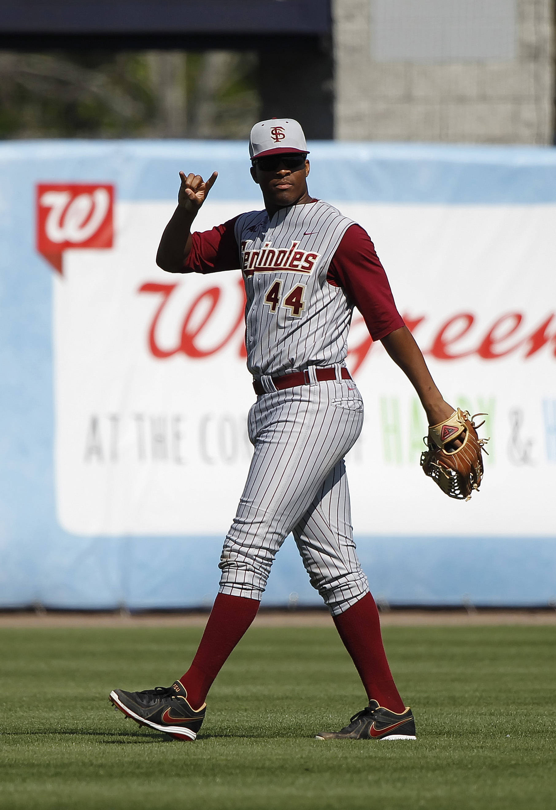 Feb 25, 2014; Tampa, FL, USA;  Florida State Seminoles pitcher/outfielder Jameis Winston (44) reacts after two outs during the fifth inning against the New York Yankees at George M. Steinbrenner Field. Mandatory Credit: Kim Klement-USA TODAY Sports