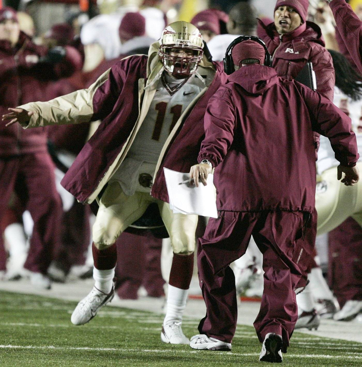 Florida State quarterback Drew Weatherford (11) celebrates on the sidelines after a Florida State interception and touchdown in the fourth quarter of a college football game against Boston College, Saturday, Nov. 3, 2007, in Boston. Florida State won 27-17. (AP Photo/Michael Dwyer)
