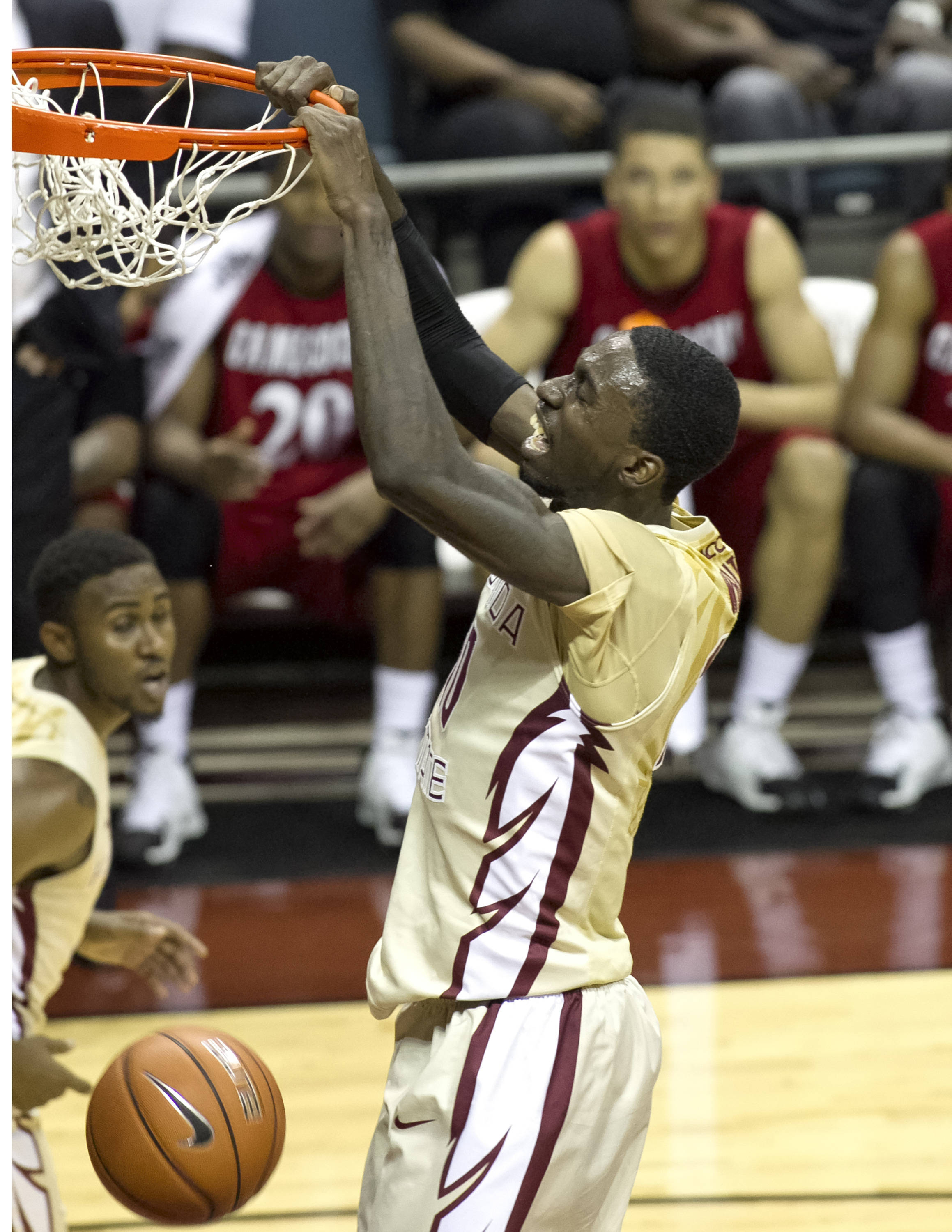 Okaro White (10) dun king two of his 14 first half points, FSU vs Jacksonville State, 12-08-13,  (Photo by Steve Musco)