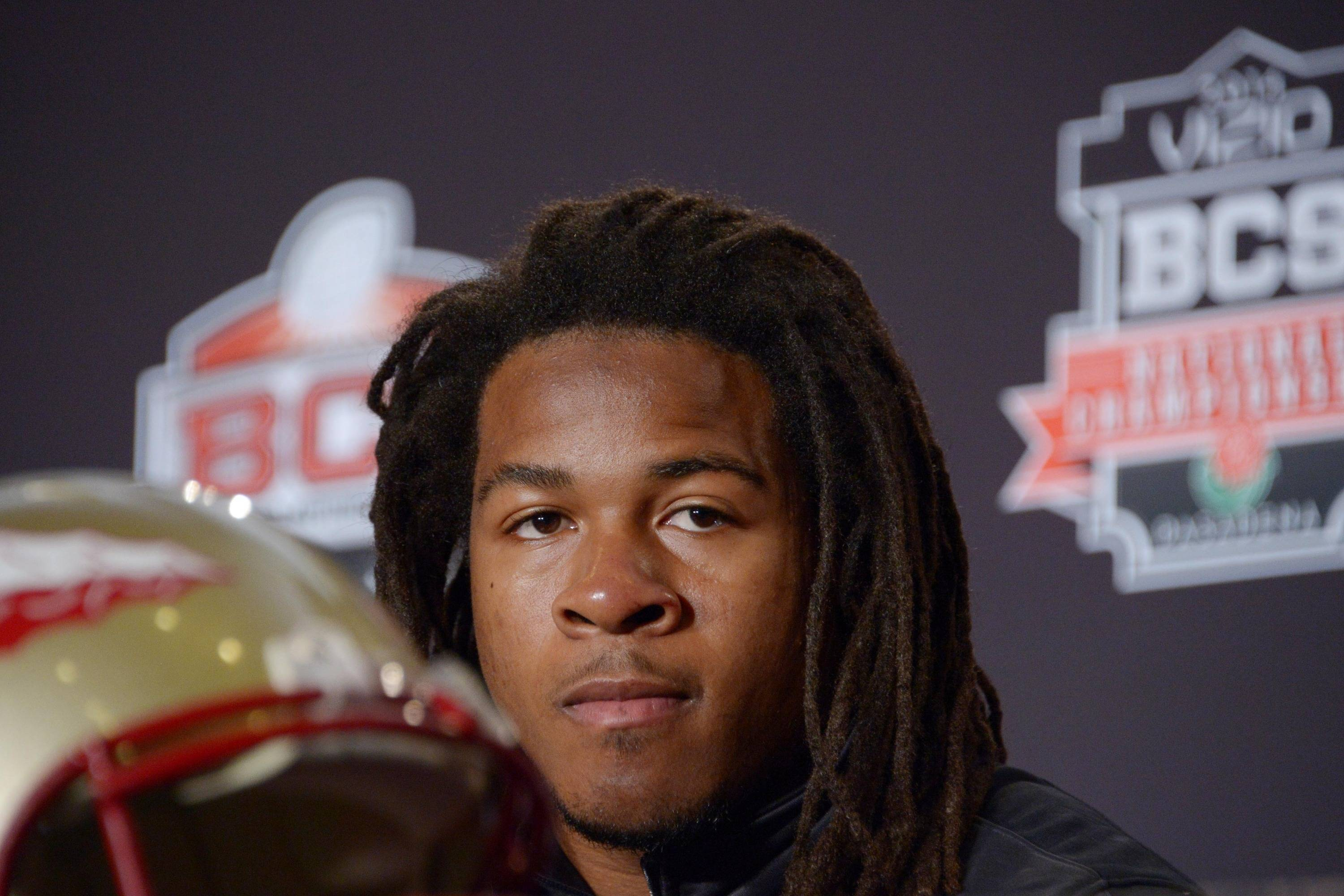 Florida State Seminoles running back Devonta Freeman at a 2014 BCS National Championship press conference at Newport Beach Marriott. Mandatory Credit: Kirby Lee-USA TODAY Sports