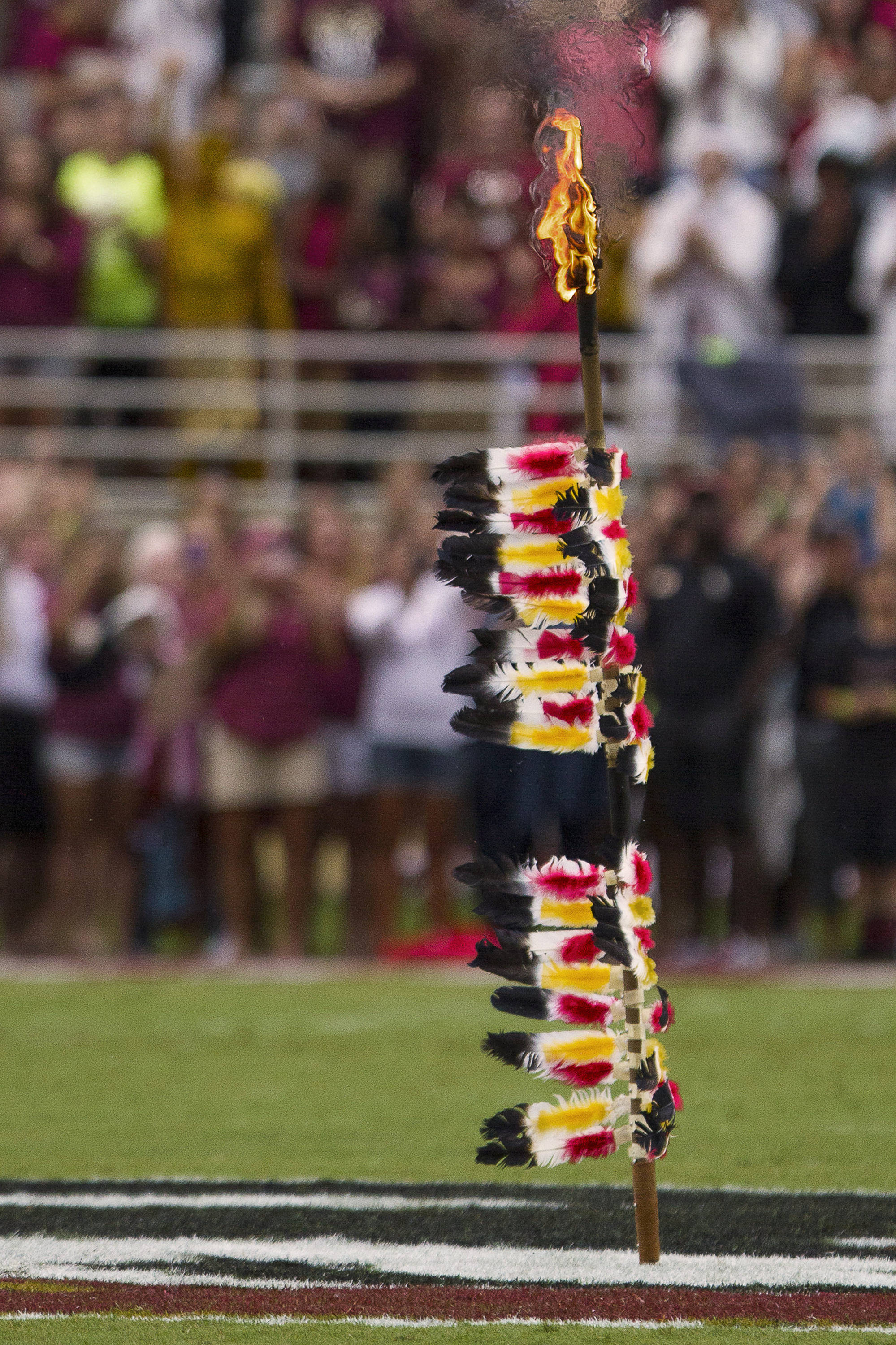 FSU's spear is planted at midfield before FSU Football's 54-6 win over Bethune-Cookman on September 21, 2013 in Tallahassee, Fla