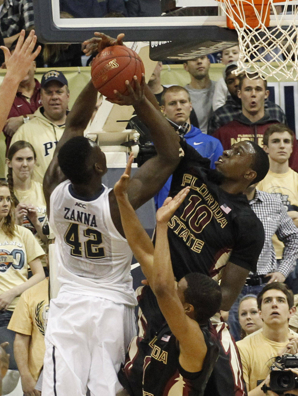 Pittsburgh Panthers forward Talib Zanna (42) has his shot blocked by Florida State Seminoles forward Okaro White (10). (Charles LeClaire-USA TODAY Sports)