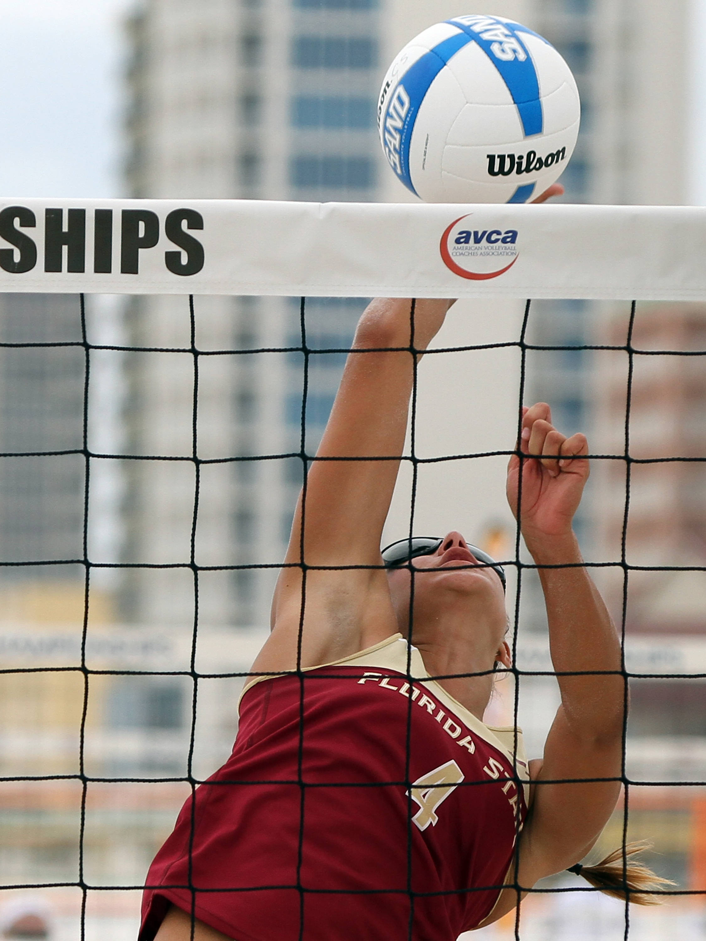 Stephaine Pellitteri (4), AVCA Collegiate Sand Volleyball National Championships,  Gulf Shores, Alabama,05/03/13 . (Photo by Steve Musco)