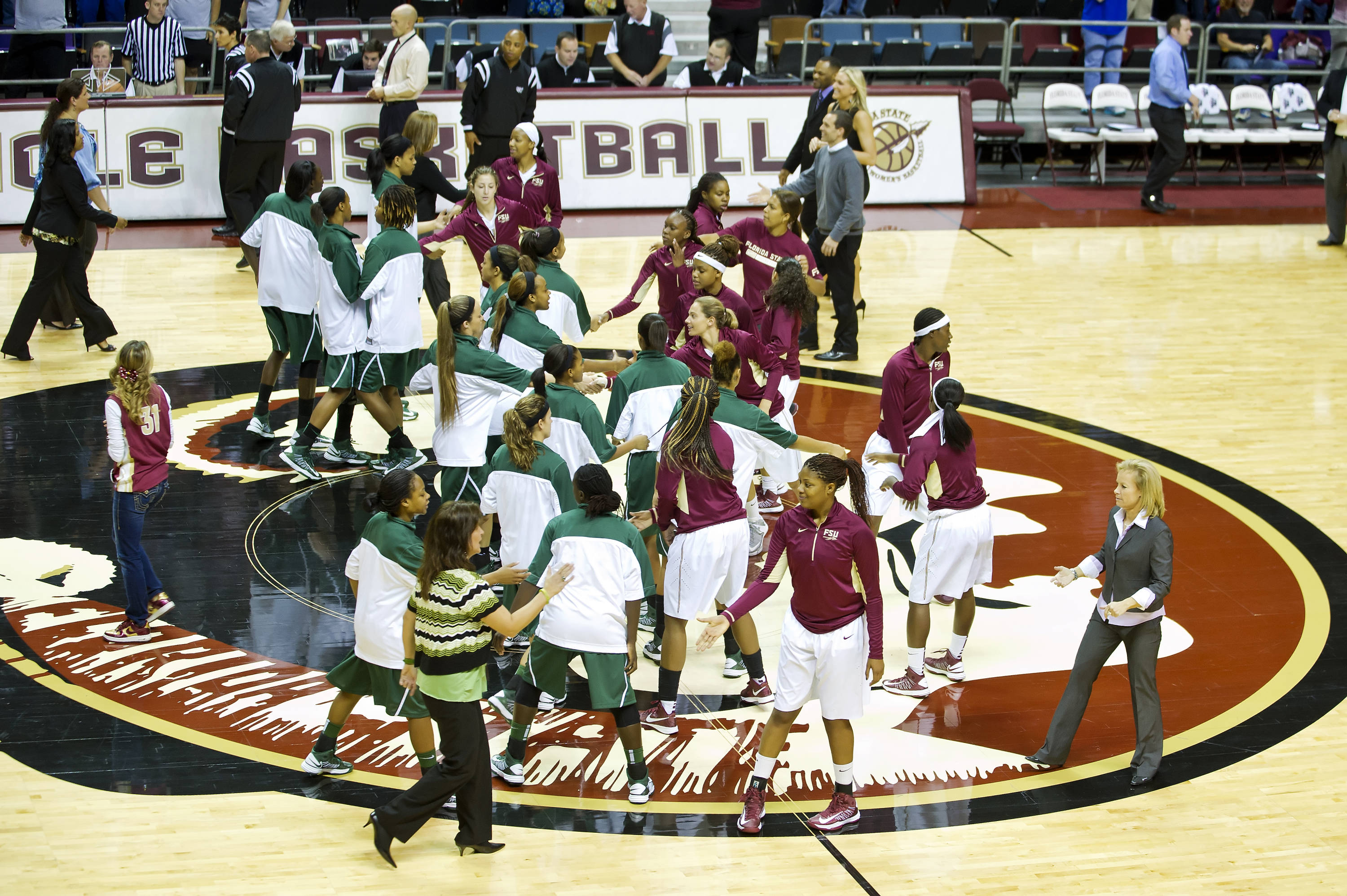 FSU players shake hands pre-game with Stetson players