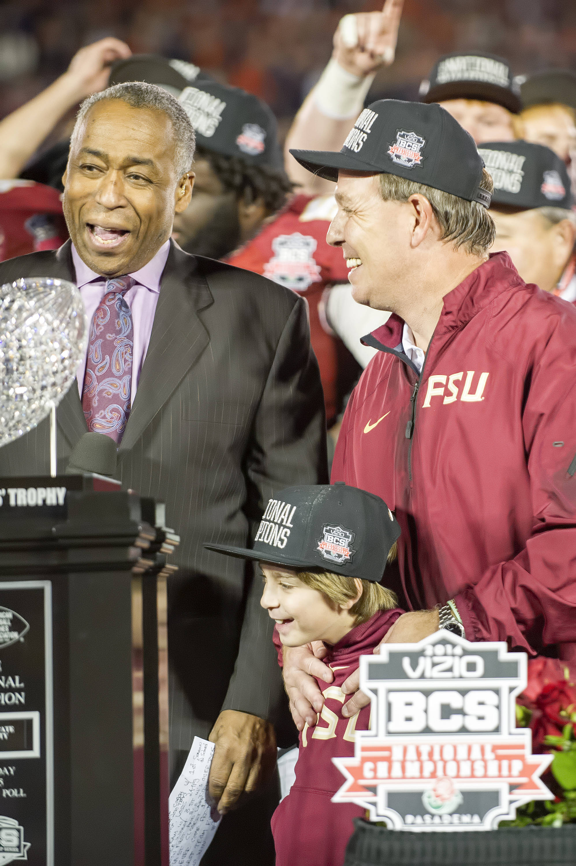 Jimbo Fisher celebrates with son Ethan
