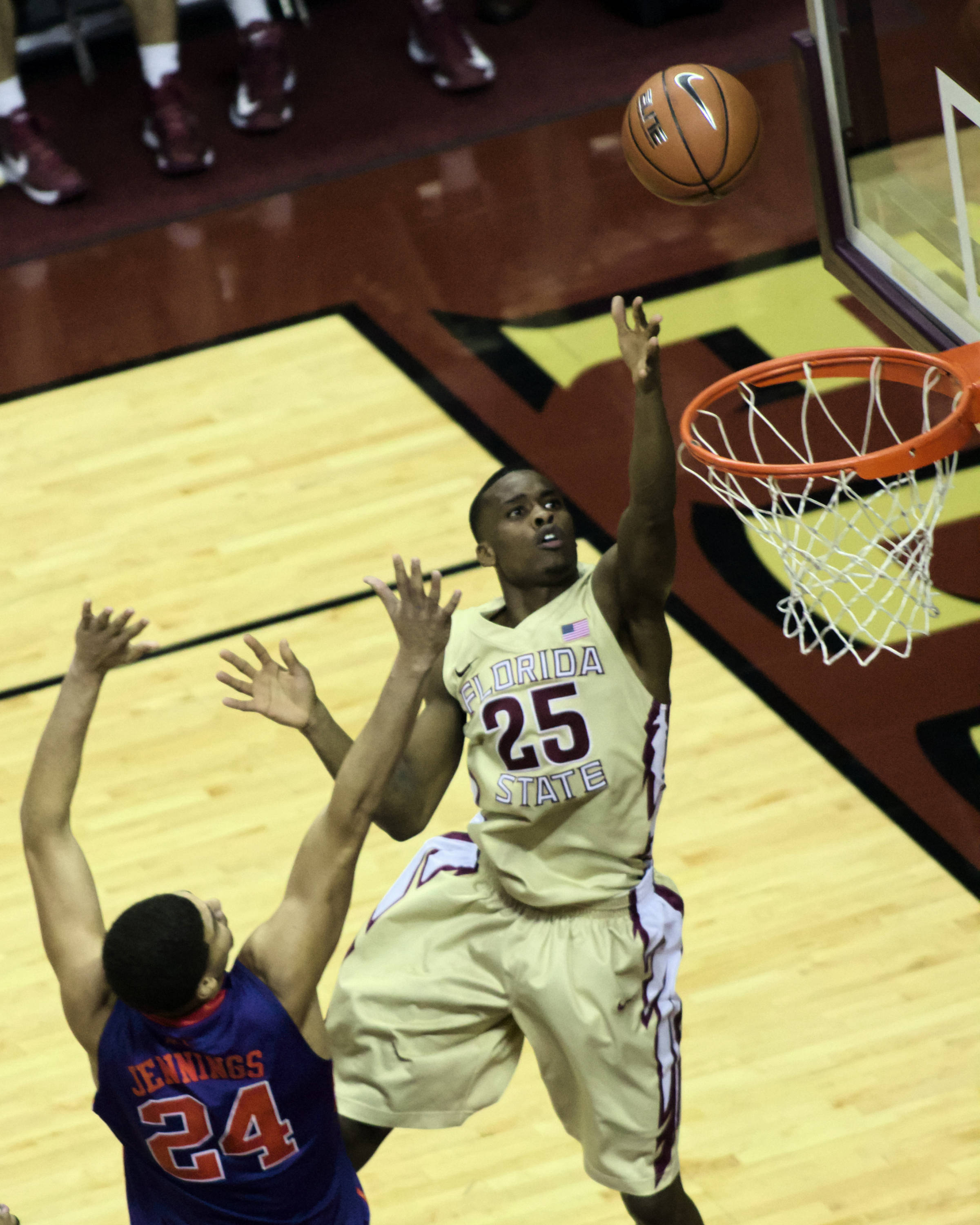 Aaron Thomas (25), FSU vs Clemson, 01/24/13. (Photo by Steve Musco)