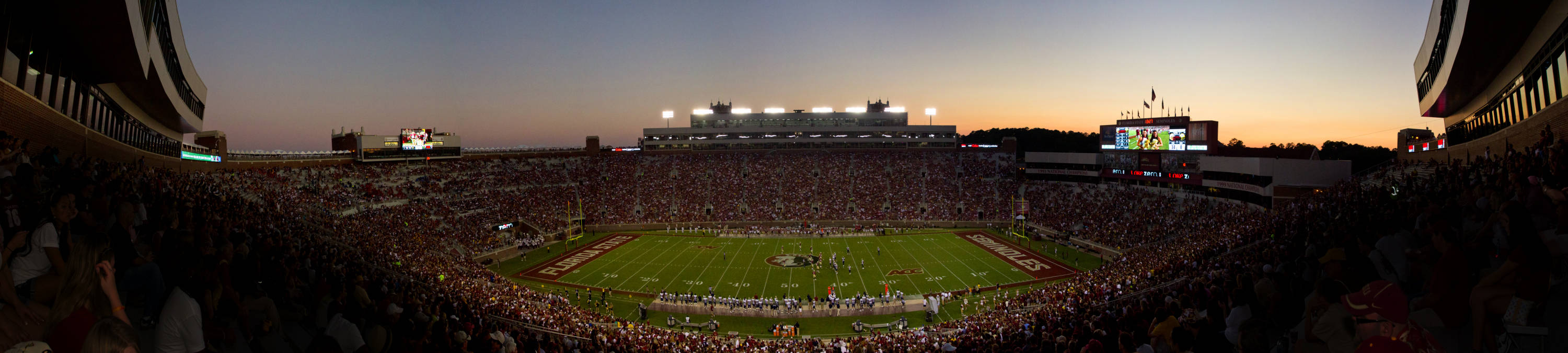 The sun sets over Doak Campbell Stadium during the third quarter of the game against CSU on September 10, 2011.