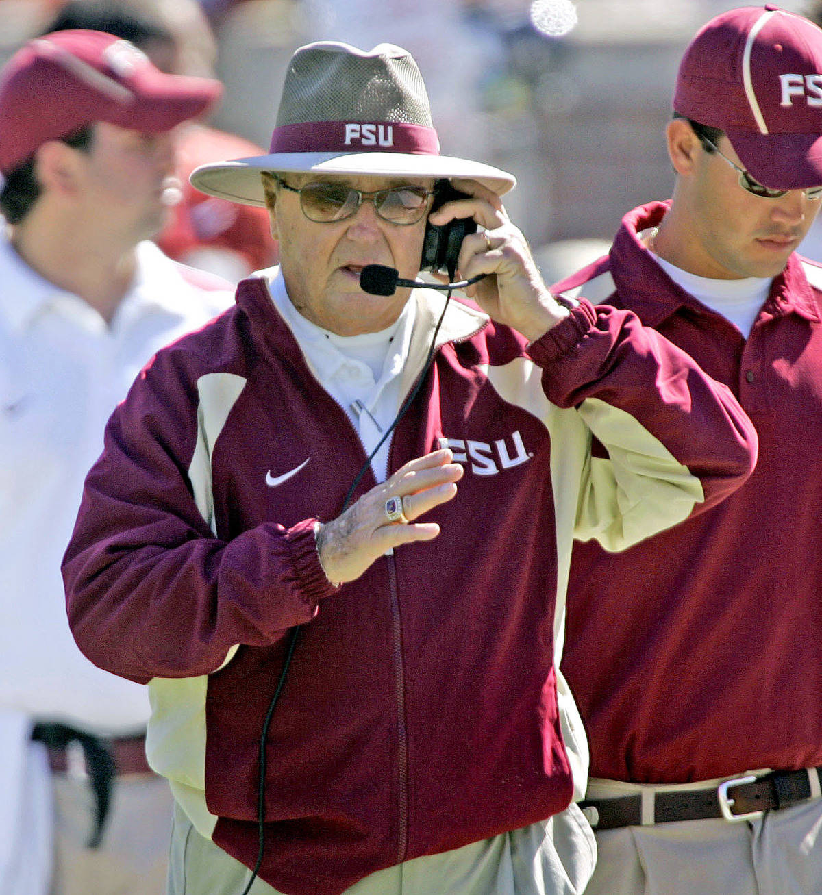 Florida State head coach Bobby Bowden talks to his coaches during the second quarter of a college football game against Virginia, Saturday, Nov. 4, 2006, in Tallahassee, Fla. FSU won 33-0. (AP Photo/Phil Coale)