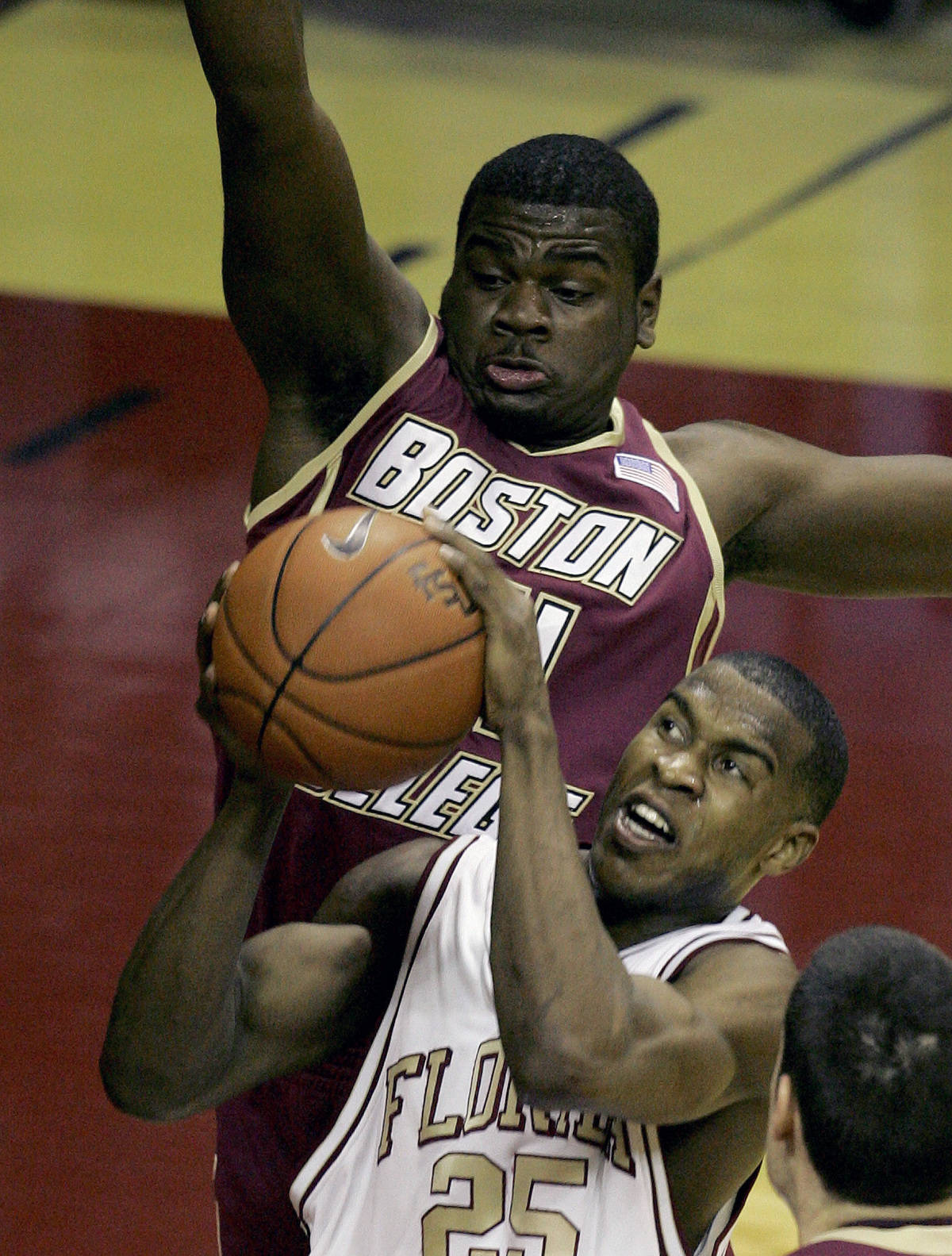 Florida State's Jason Rich, bottom, drives to the basket for two first-half points as Boston College's Shamari Spears, top, attempts to defend during a college basketball game, Sunday, Feb. 11, 2007, in Tallahassee, Fla.(AP Photo/Phil Coale)