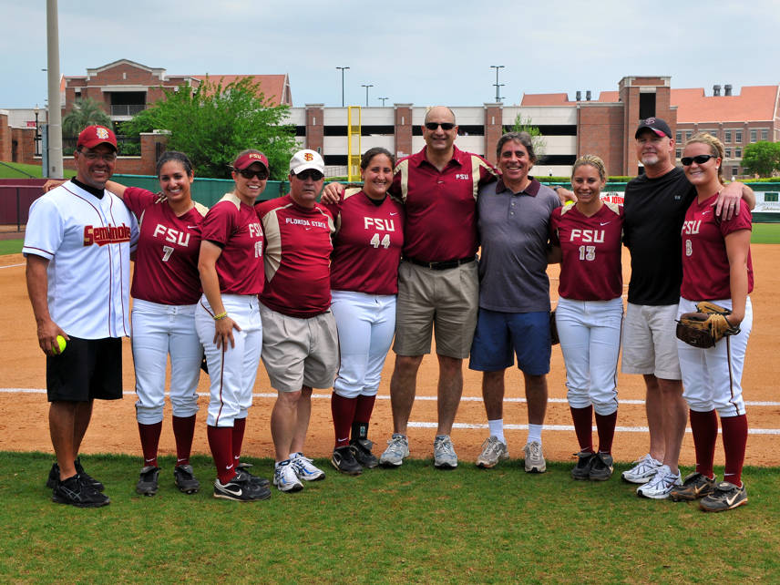 The Seminoles seniors with their dads.