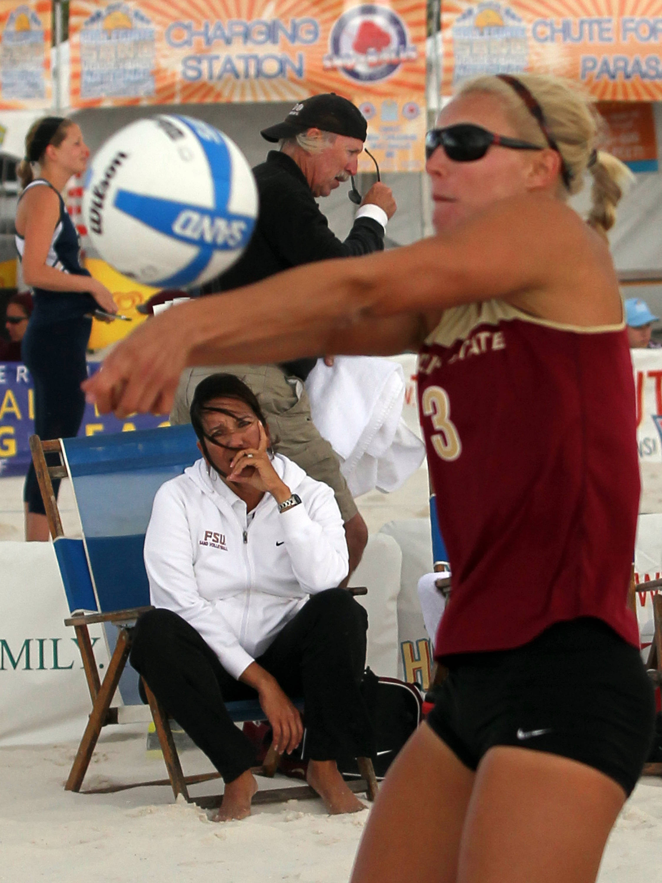 Head Coach Danalee Corso watching Julie Brown, AVCA Collegiate Sand Volleyball National  Championships - Pairs,  Gulf Shores, Alabama, 05/05/13 . (Photo by Steve Musco)