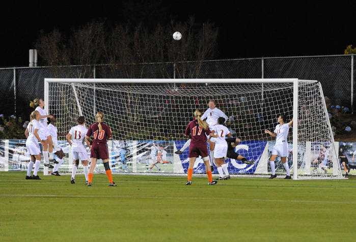The Seminoles defending their goal on a Hokie throw-in.