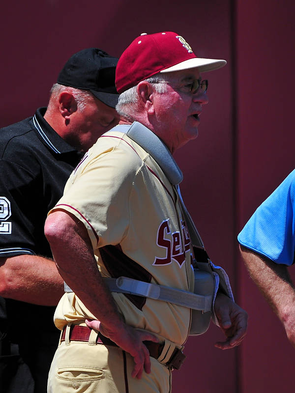 FSU coach Mike Martin was back in action after shoulder surgery earlier this week.