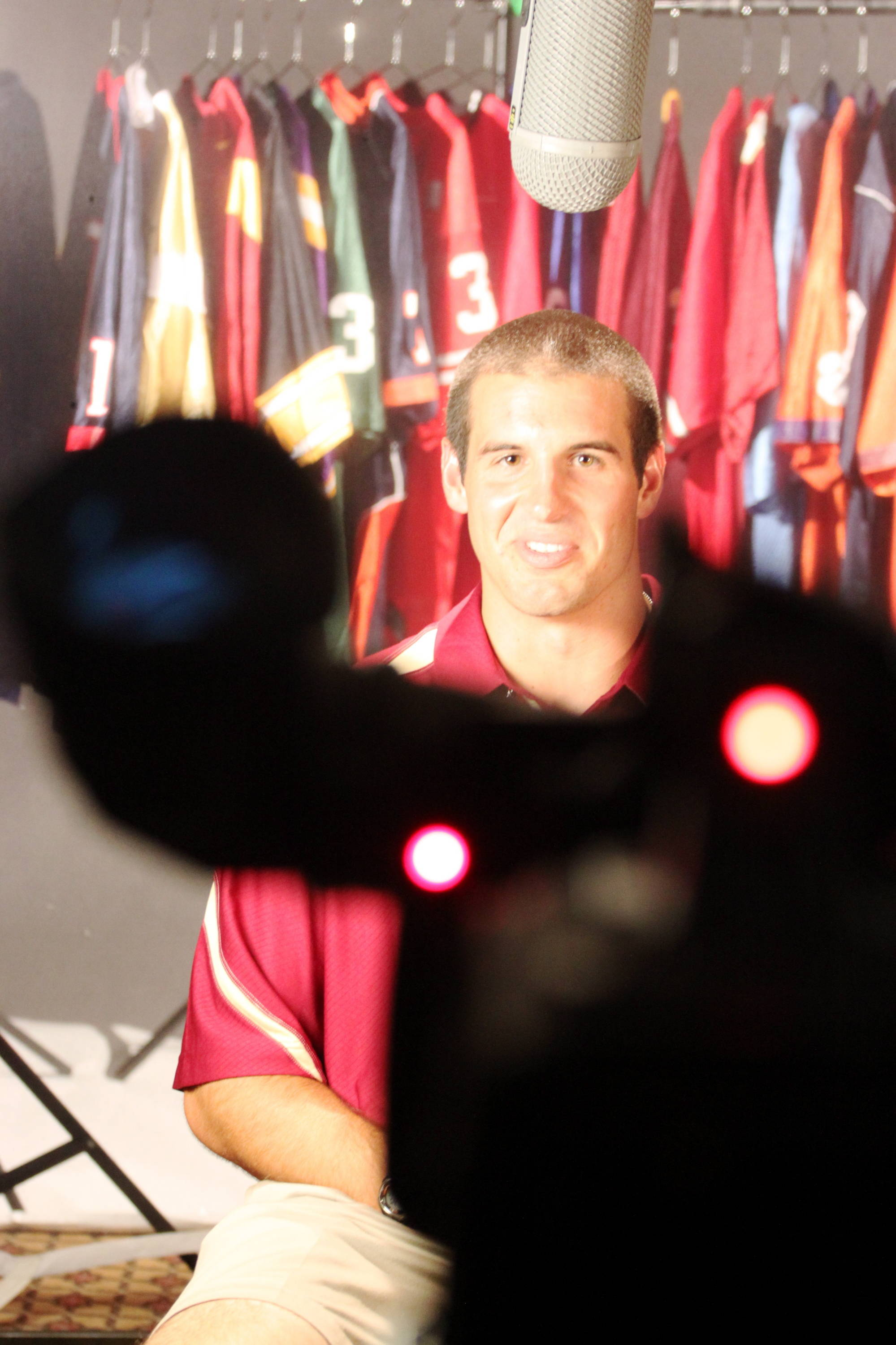 Christian Ponder answering questions from ESPN.