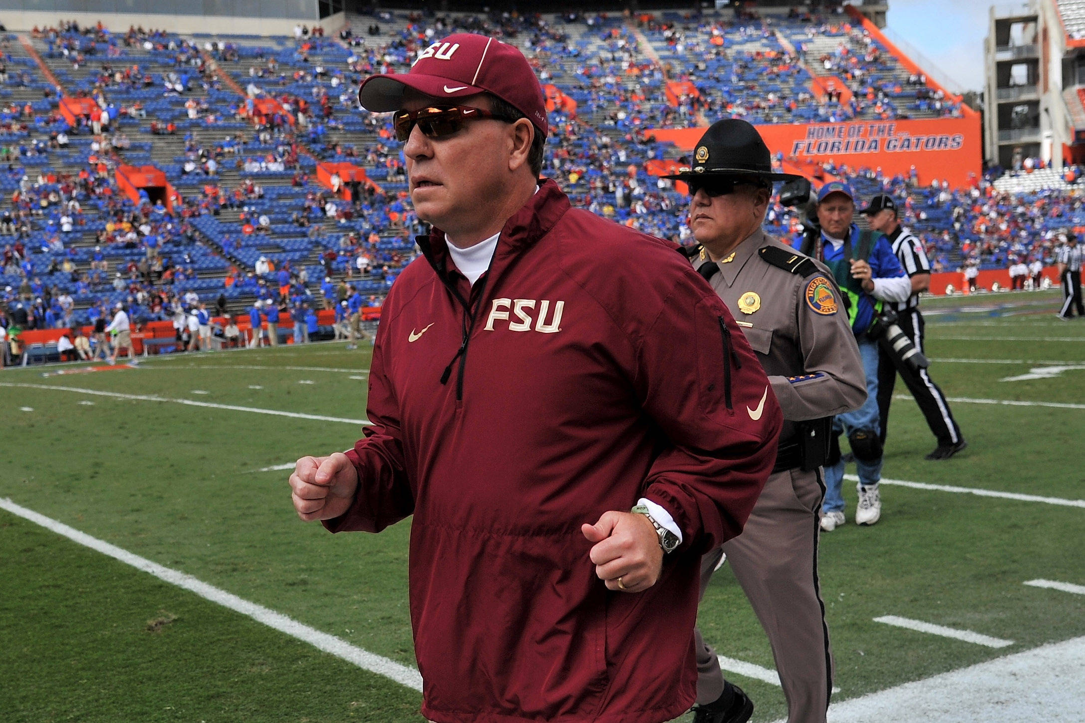 Jimbo Fisher runs off the field. Mandatory Credit: Steve Mitchell-USA TODAY Sports