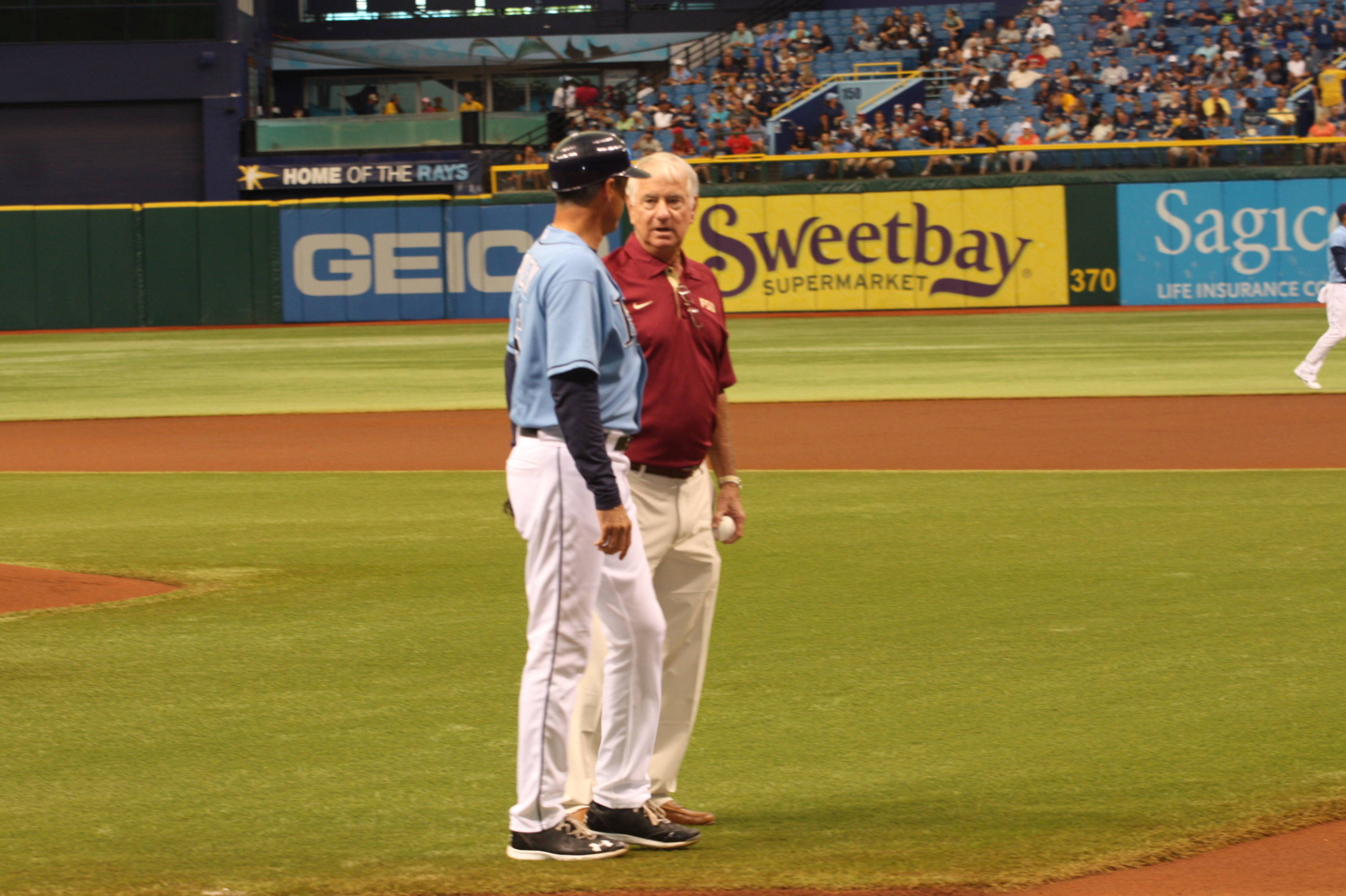 FSU head coach Mike Martin with Rays third base coach Tom Foley