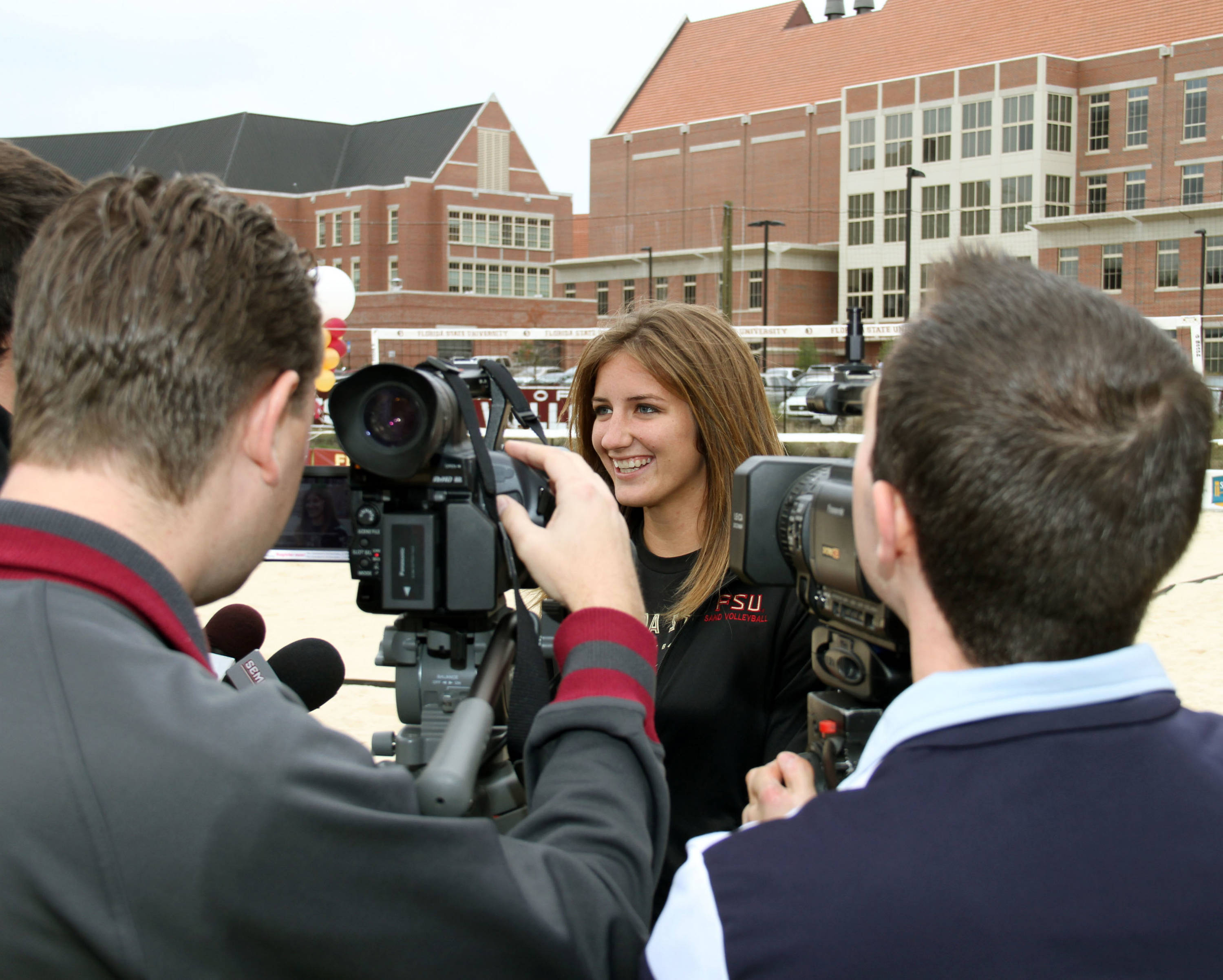 Sand Volleyball Ribbon Cutting Ceremony on January 20, 2012 on the FSU Campus Aurora Newgard is interviewed after the ceremony