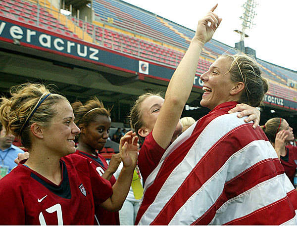 August 23, 2006: FSU soccer's Sarah Wagenfuhr recorded an assist in the US's 4-1 victory over Argentina Monday. The win sent the United States into the quarterfinals of the World Championships.