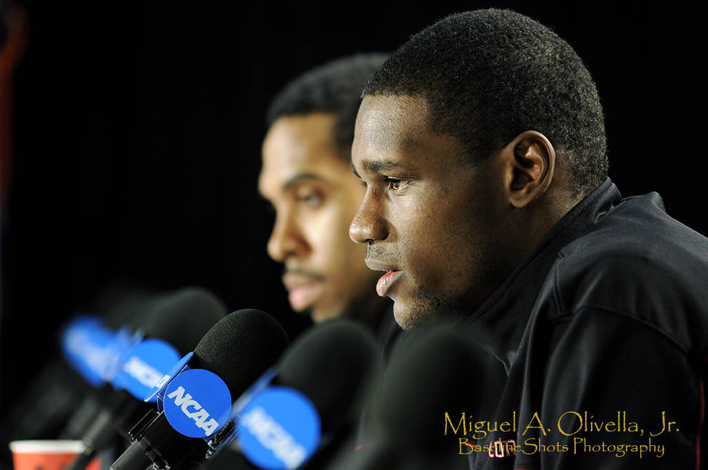 Bernard James and Derwin Kitchen answer questions during the Seminoles media session