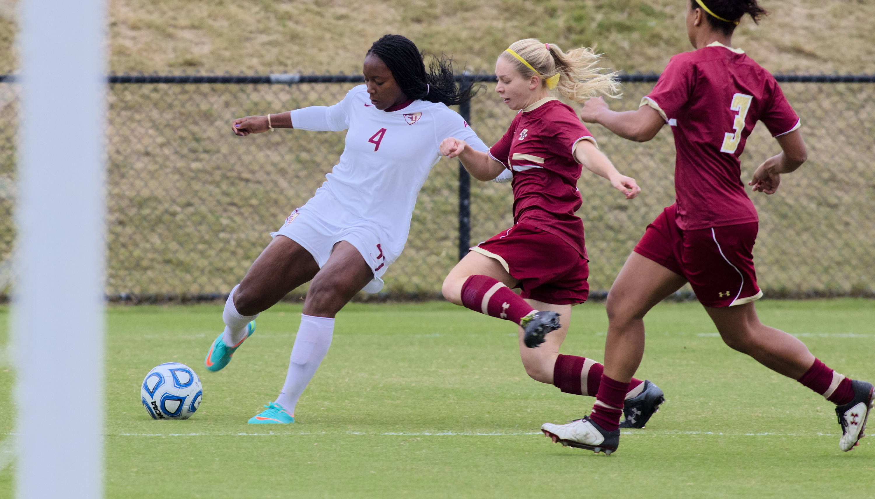 Jamia Fields (4), FSU vs BC, ACC Tournament, 10/28/12. (Photo by Steve Musco)