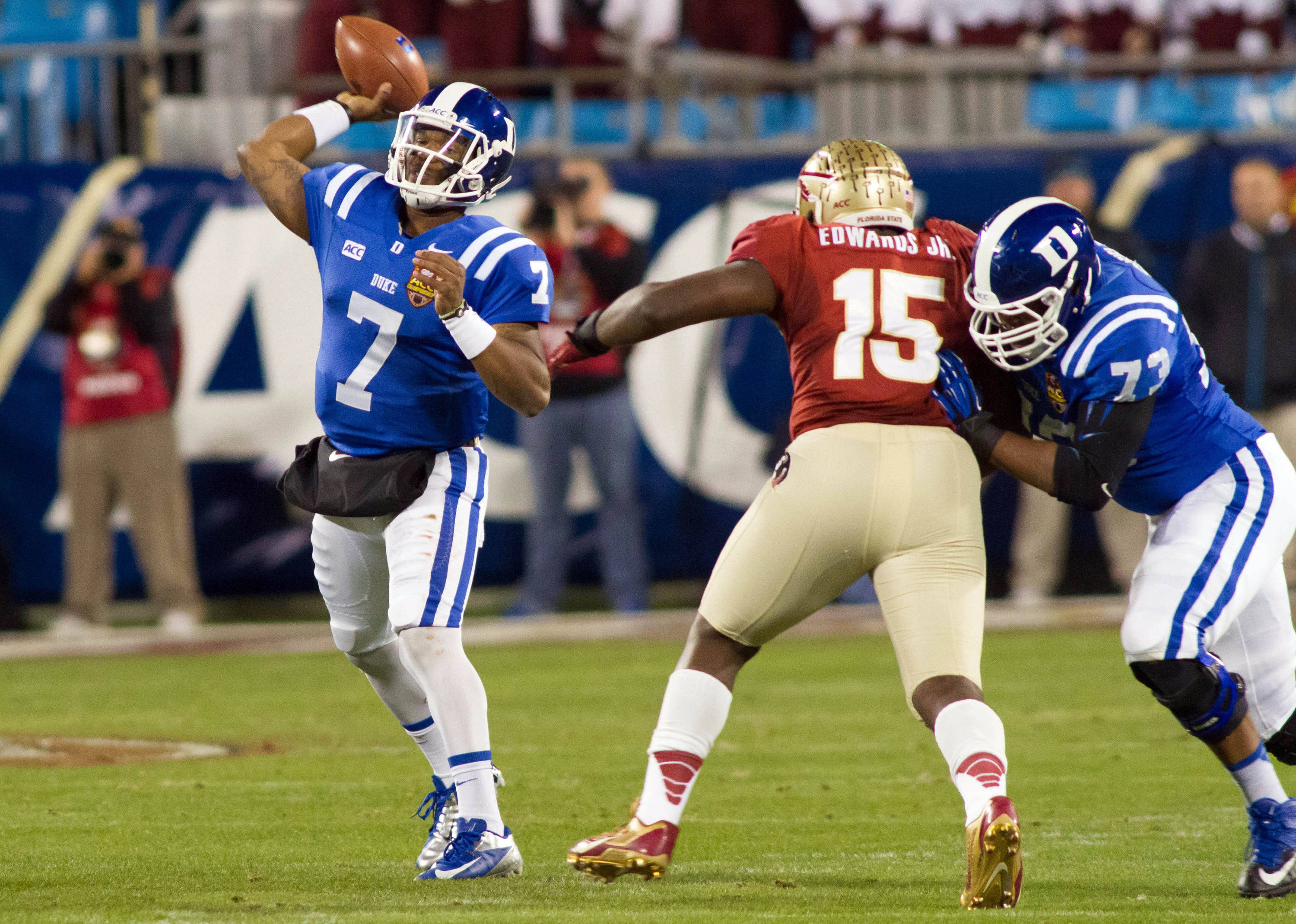 Dec 7, 2013; Charlotte, NC, USA; Duke Blue Devils quarterback Anthony Boone (7) throws a pass during the first quarter against the Florida State Seminoles at Bank of America Stadium. Mandatory Credit: Jeremy Brevard-USA TODAY Sports