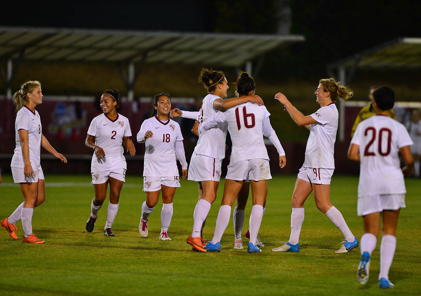 The Seminoles celebrate after Marta scores her first career goal.