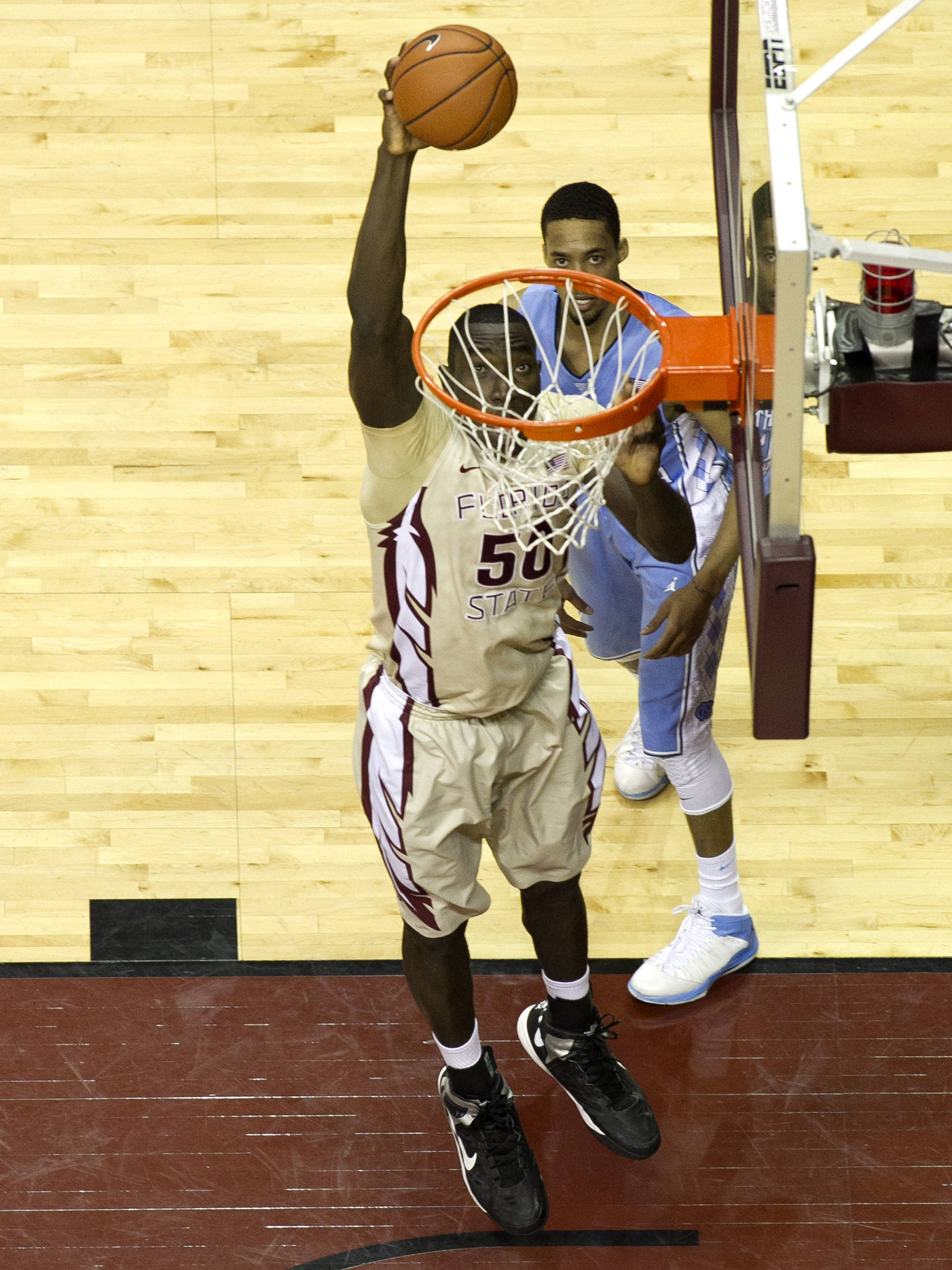 Michael Ojo (50) ready to dunk, FSU vs North Carolina, 2-17-14, (Photo's by Steve Musco)