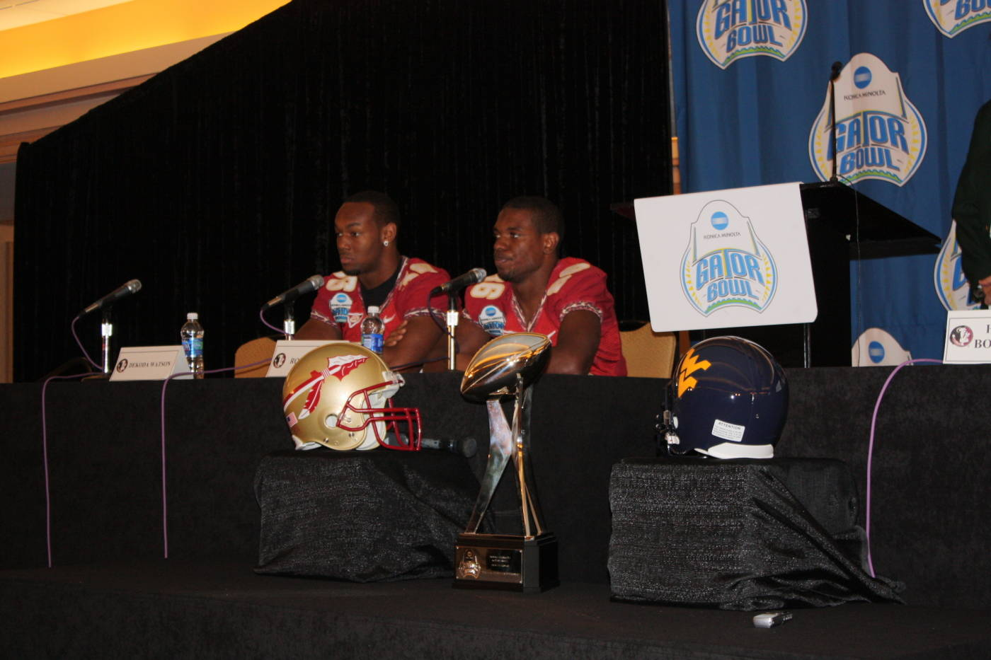Rod Owens and Dekoda Watson at the Gator Bowl coaches and players press conference at the Hyatt in Jacksonville.