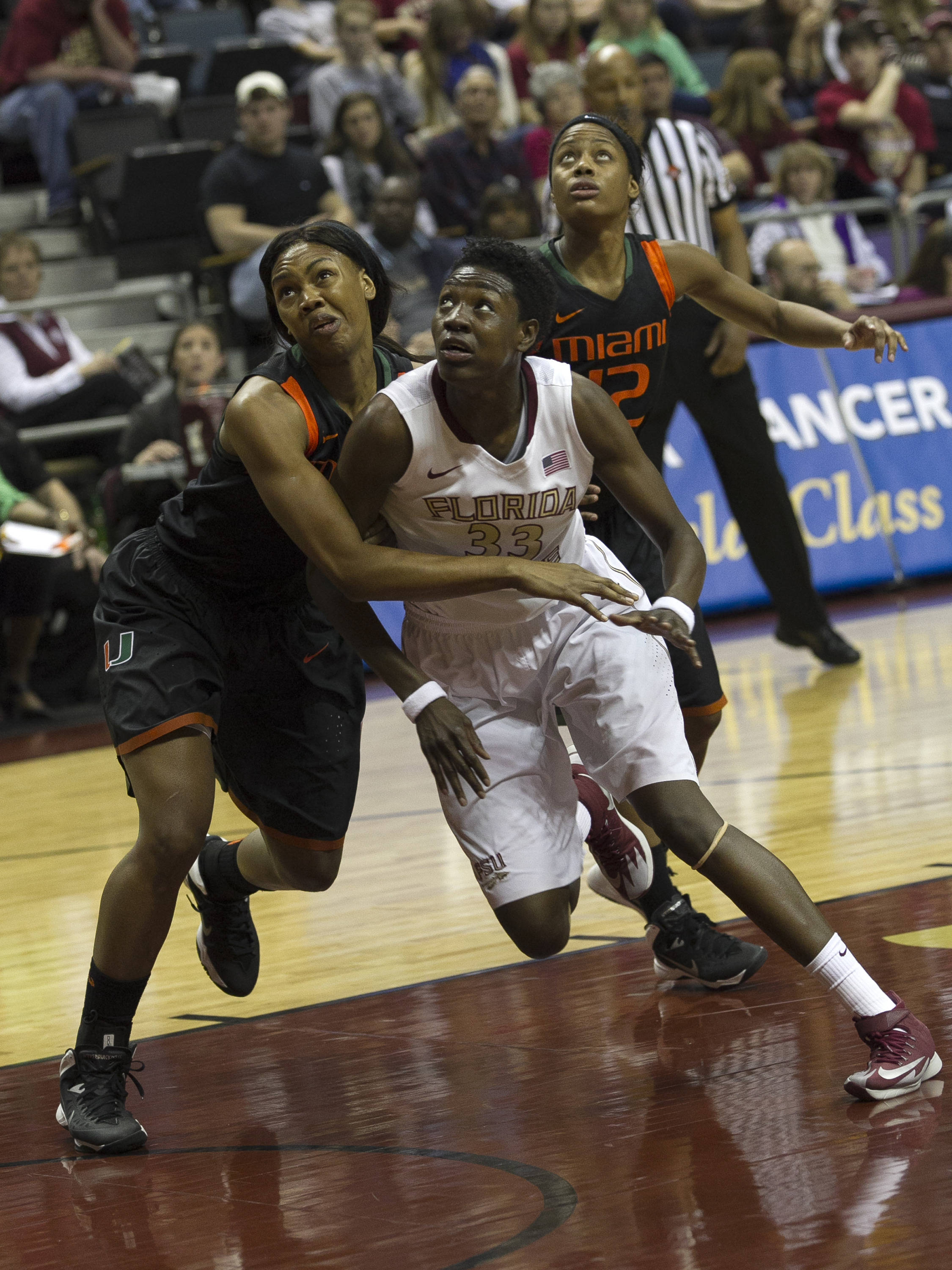 Natasha Howard (33) battling for position, FSU vs Miami, 2-16-14, (Photo's by Steve Musco)