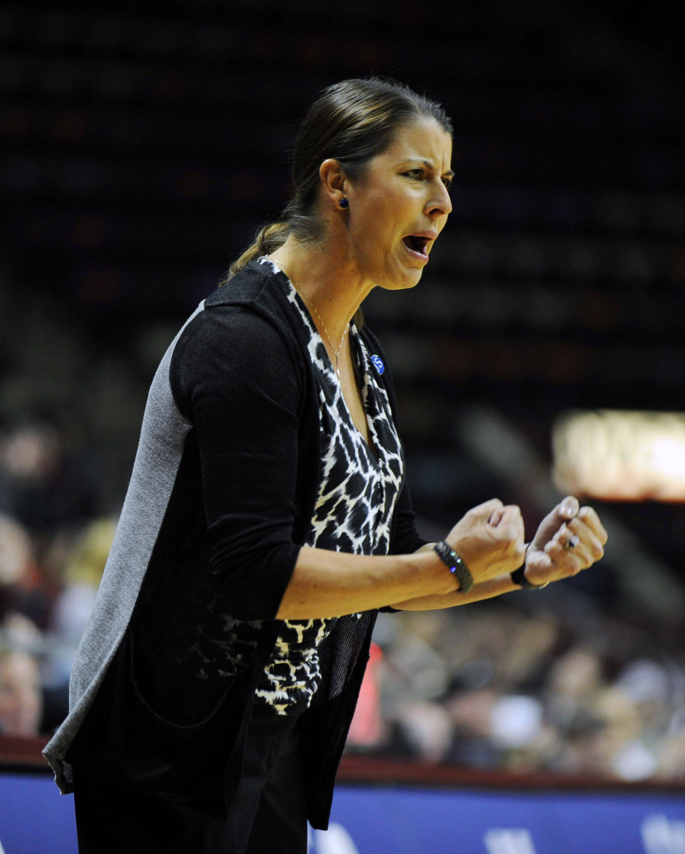Jan 23, 2014; Tallahassee, FL, USA; Duke Blue Devils head coach Joanne McCallie during the first half of the game against the Florida State Seminoles at the Donald L. Tucker Center (Tallahassee). Mandatory Credit: Melina Vastola-USA TODAY Sports