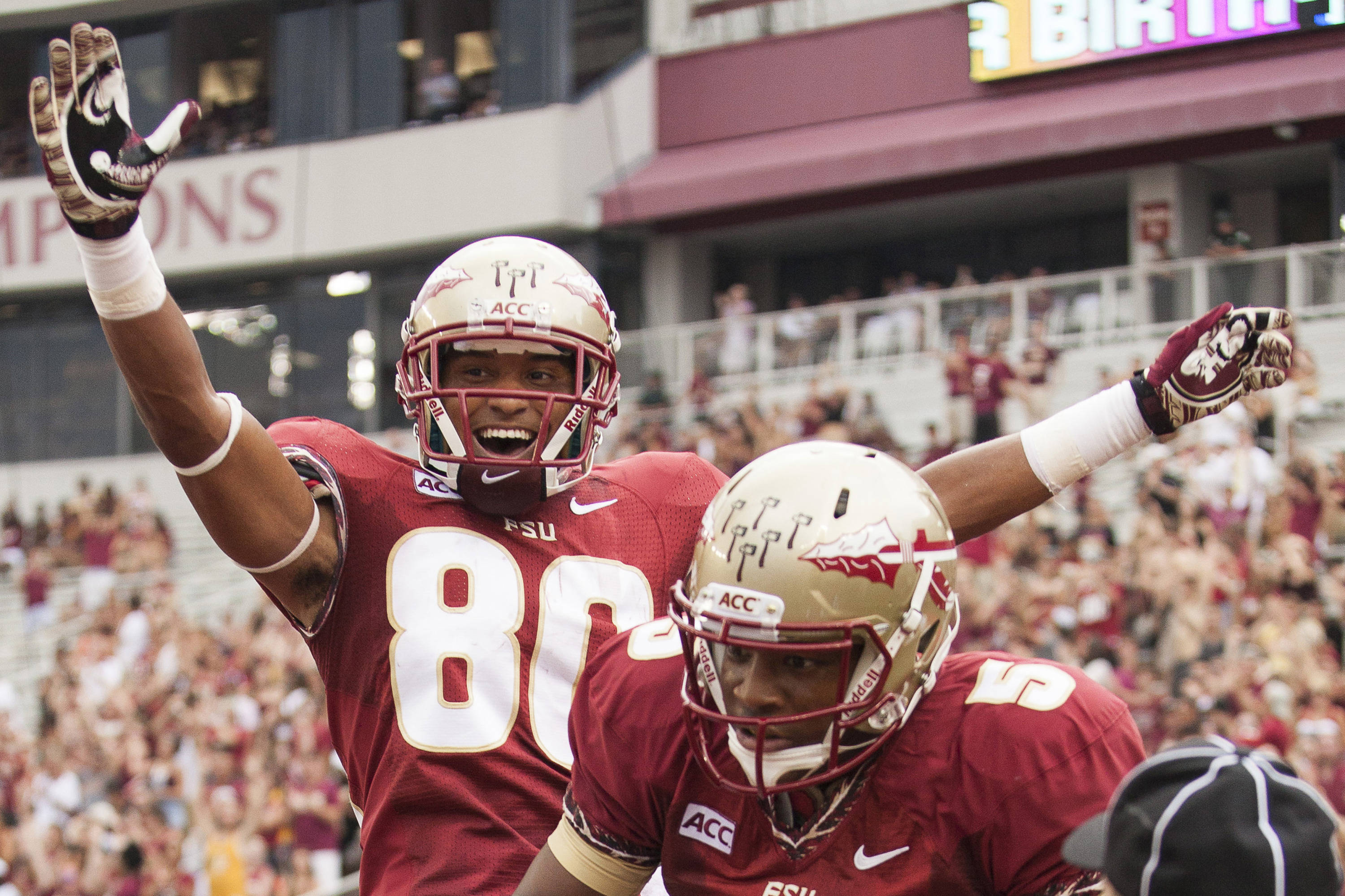 Rashad Greene (80) celebrates after a touchdown during FSU's 62-7 win over Nevada on Saturday, Sept 14, 2013 in Tallahassee, Fla.