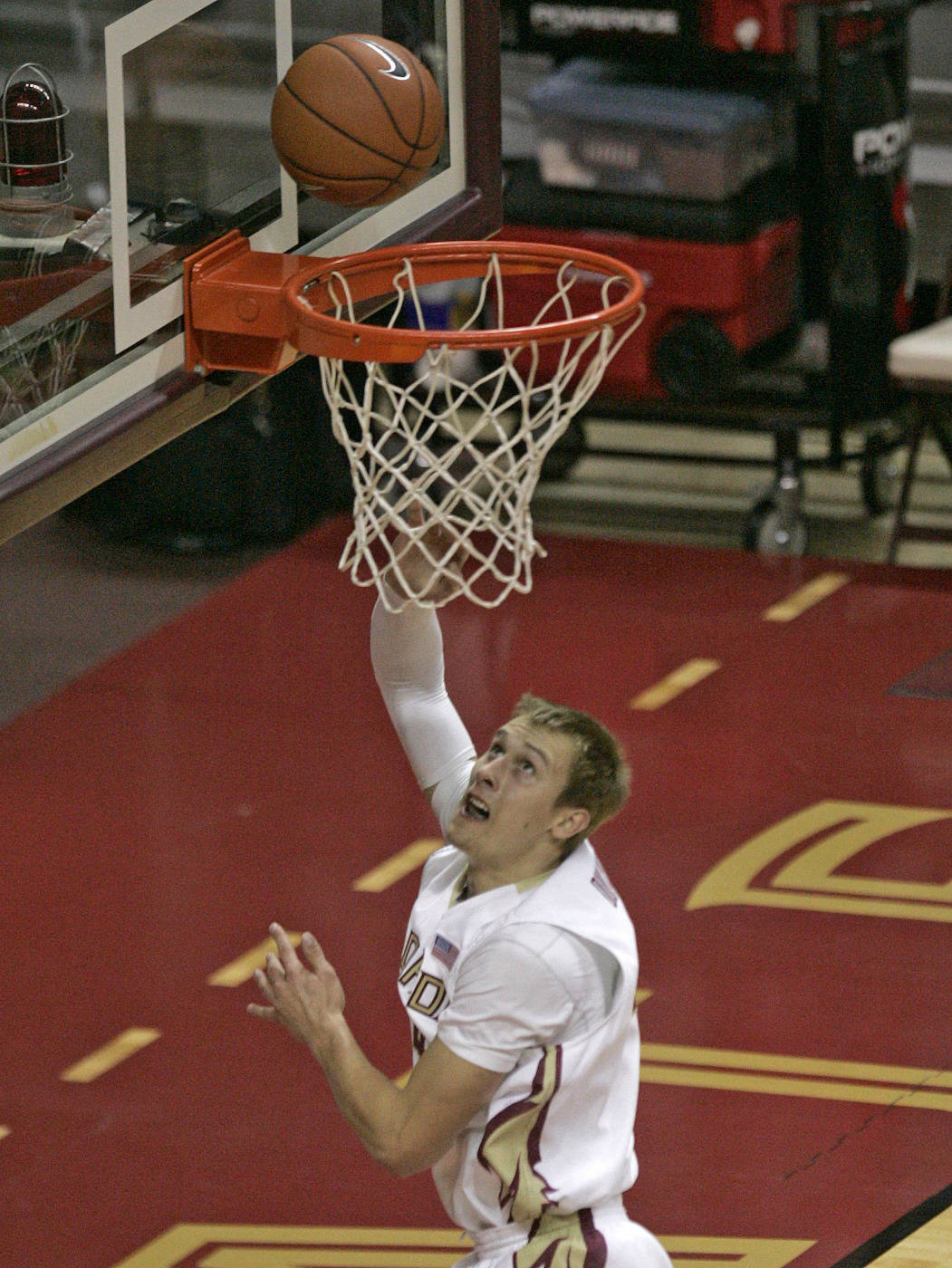 Florida State's Deividas Dulkys scores a basket against Alabama A&M during the first half of an NCAA college basketball game on Thursday, Dec. 31, 2009, in Tallahassee, Fla. Dulkys matched his career high with 19 points, and No. 22 Florida State routed Alabama A&M 81-34 on Thursday. (AP Photo/Steve Cannon)