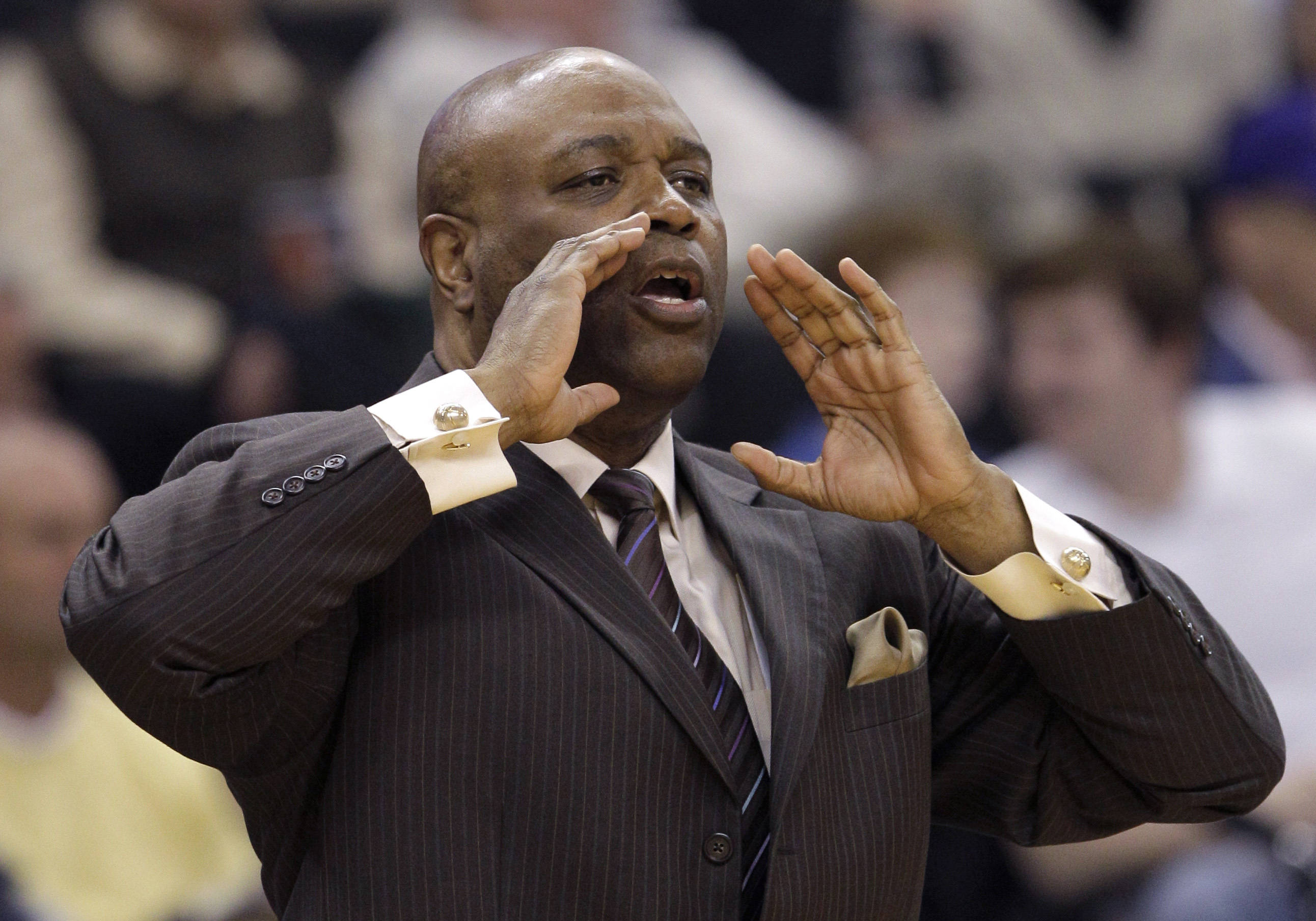 Florida State coach Leonard Hamilton directs his team against the Wake Forest during the first half. (AP Photo/Chuck Burton)