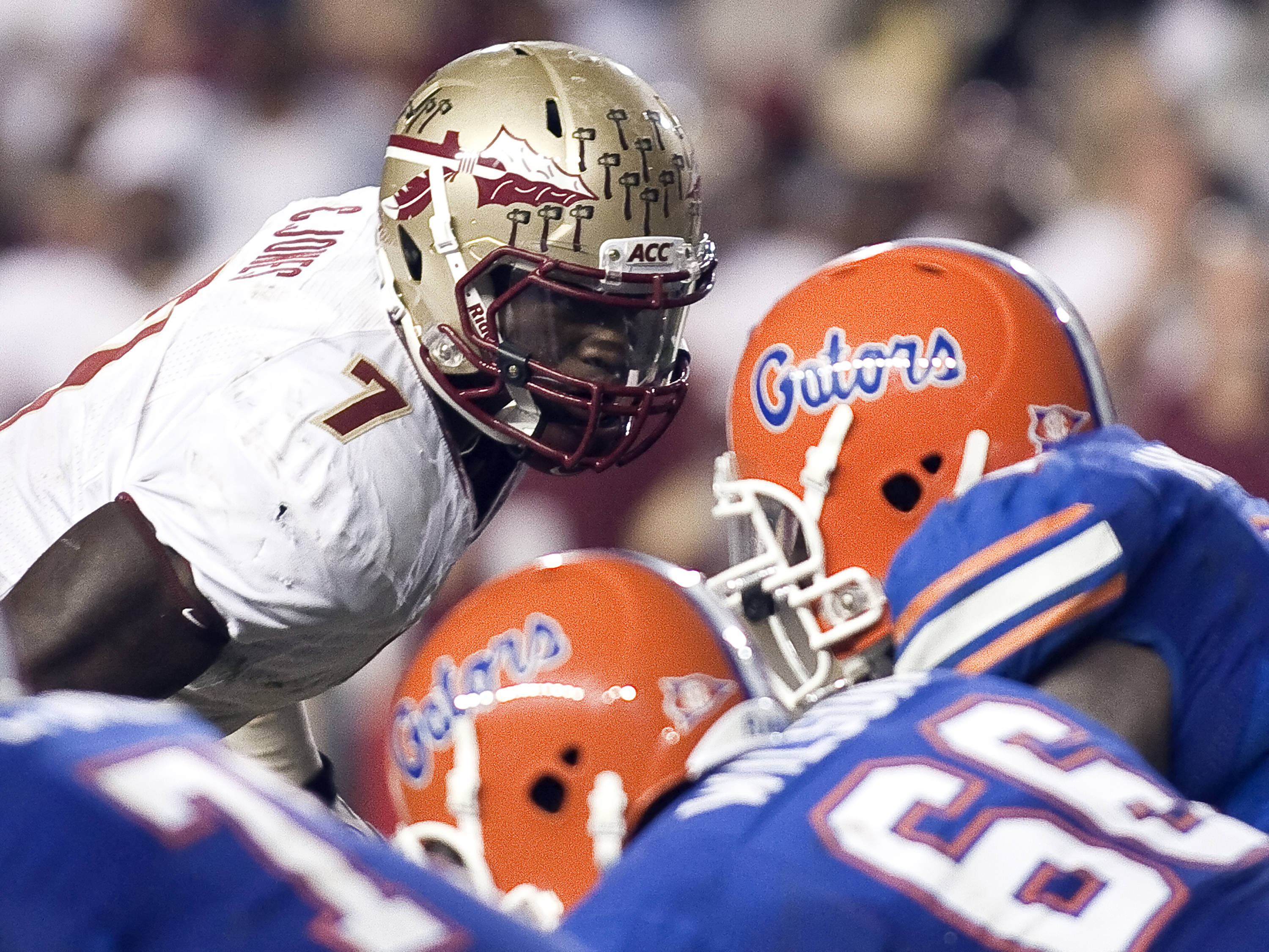 Christian Jones (7) ready for a defensive rush, FSU vs Florida, 11/26/2011
