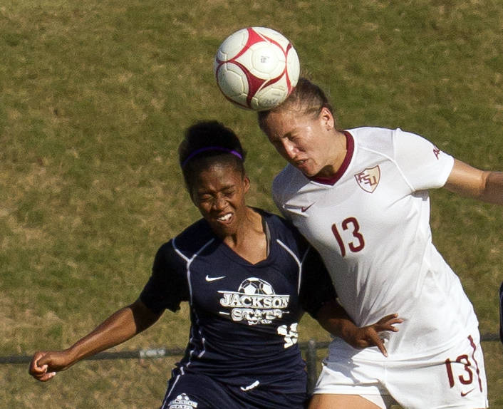Kristin Grubka (13), FSU vs Jackson State, 9/21/12 (Photo by Steve Musco)