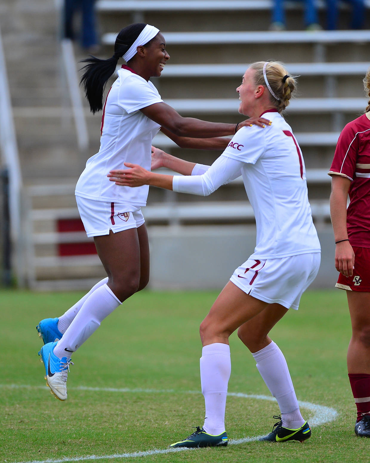 Tiffany McCarty celebrates with Dagny Brynjarsdottir after scoring in the 5th minute to give FSU a 2-0 lead.