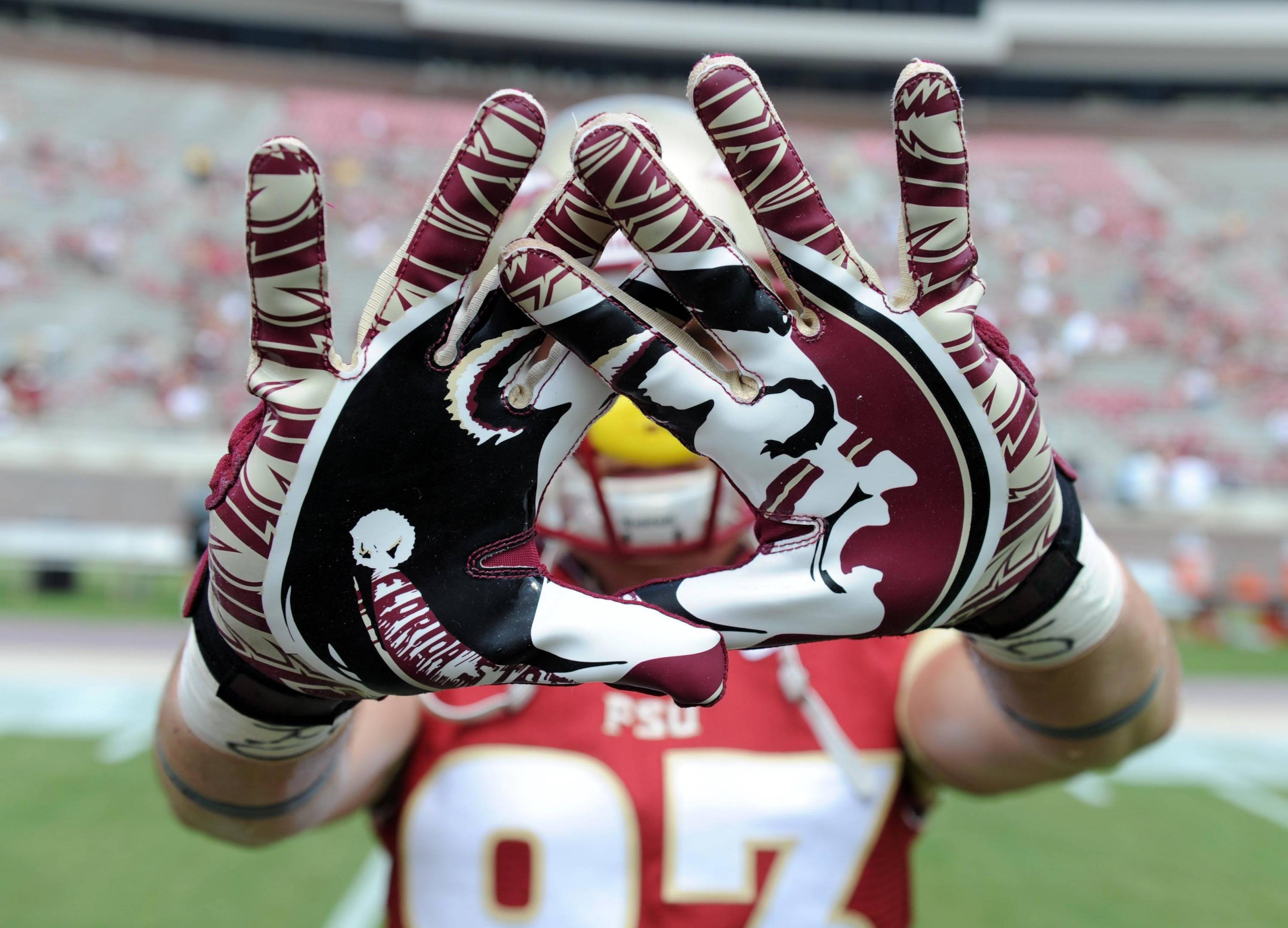 Sep 14, 2013; Tallahassee, FL, USA; A view of Florida State Seminoles gloves before the start of the game against the Nevada Wolf Pack at Doak Campbell Stadium. Mandatory Credit: Melina Vastola-USA TODAY Sports